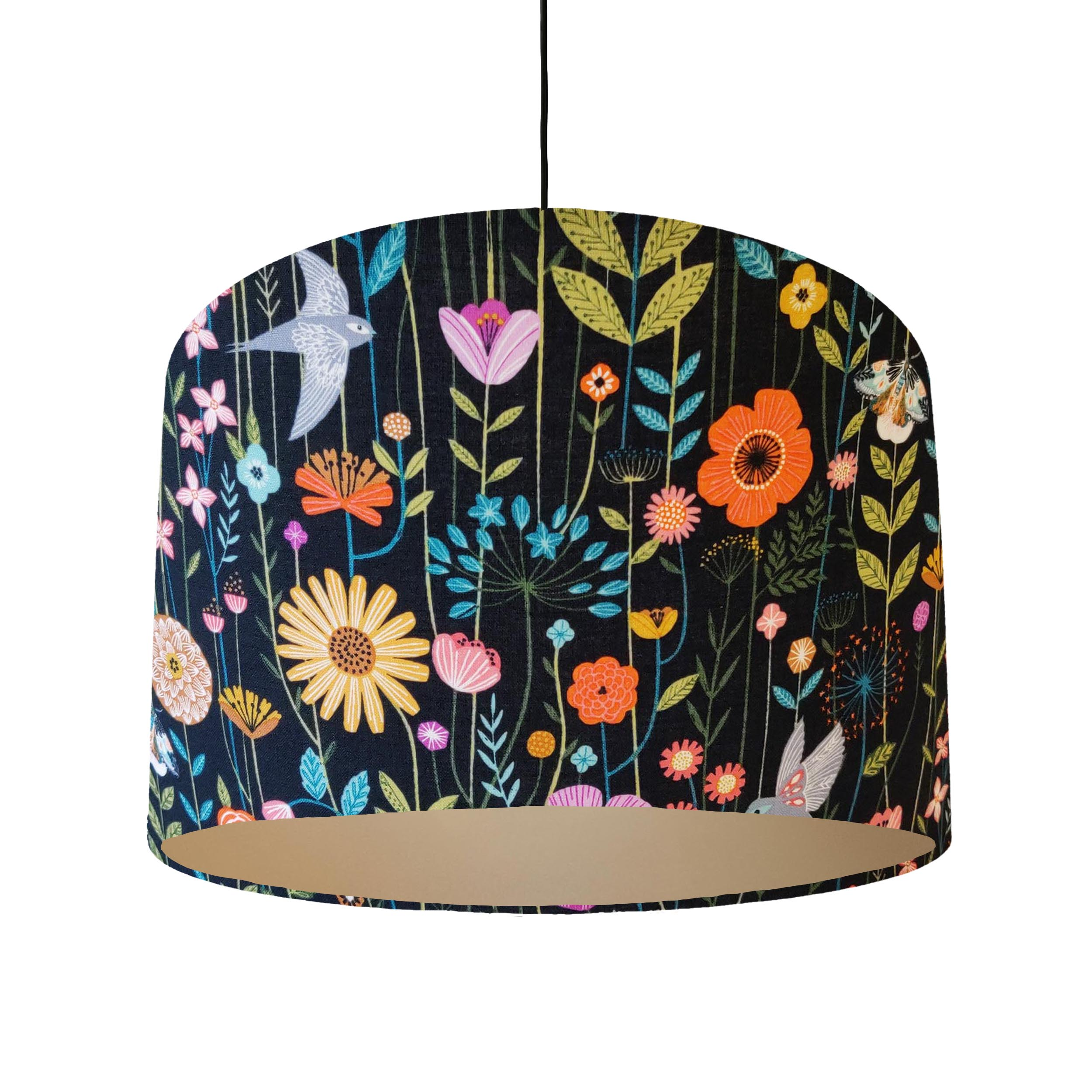 Birds and Flowers Lampshade with Champagne Lining