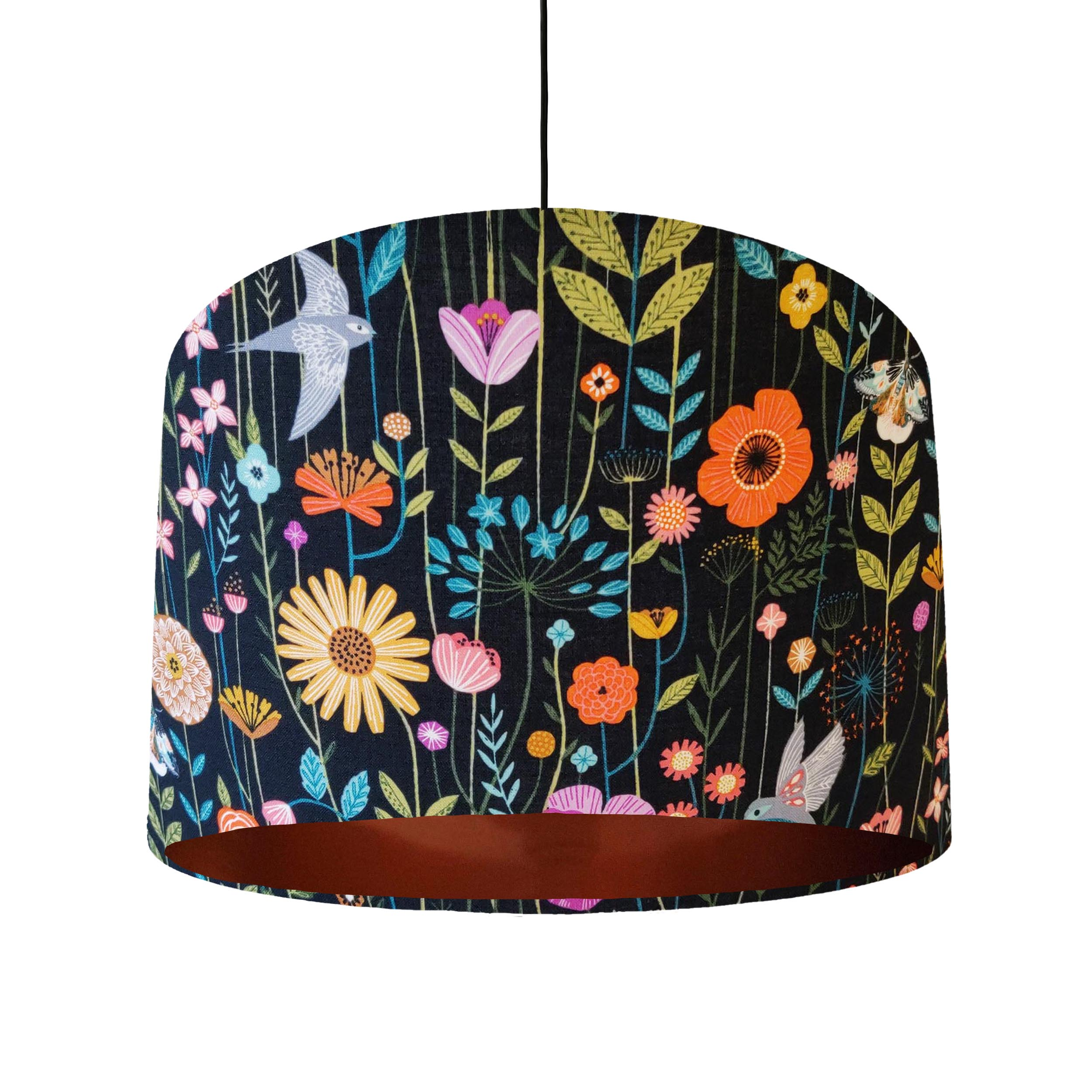 Birds and Flowers Lampshade with Copper Lining