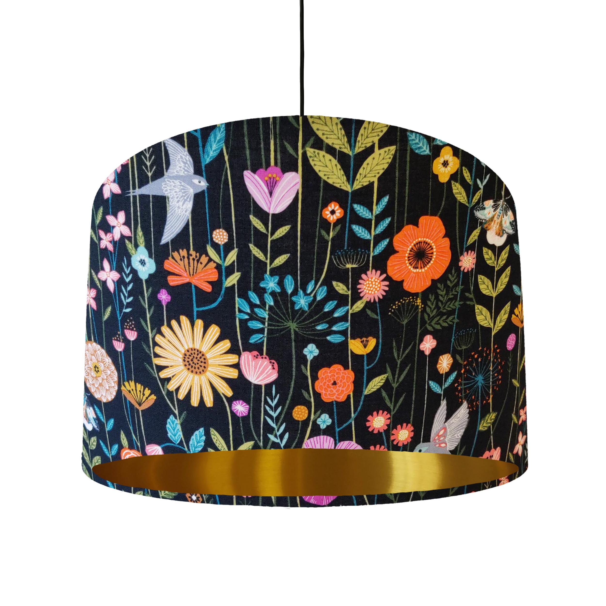 Birds and Flowers Cotton Fabric Lampshade with Gold Lining
