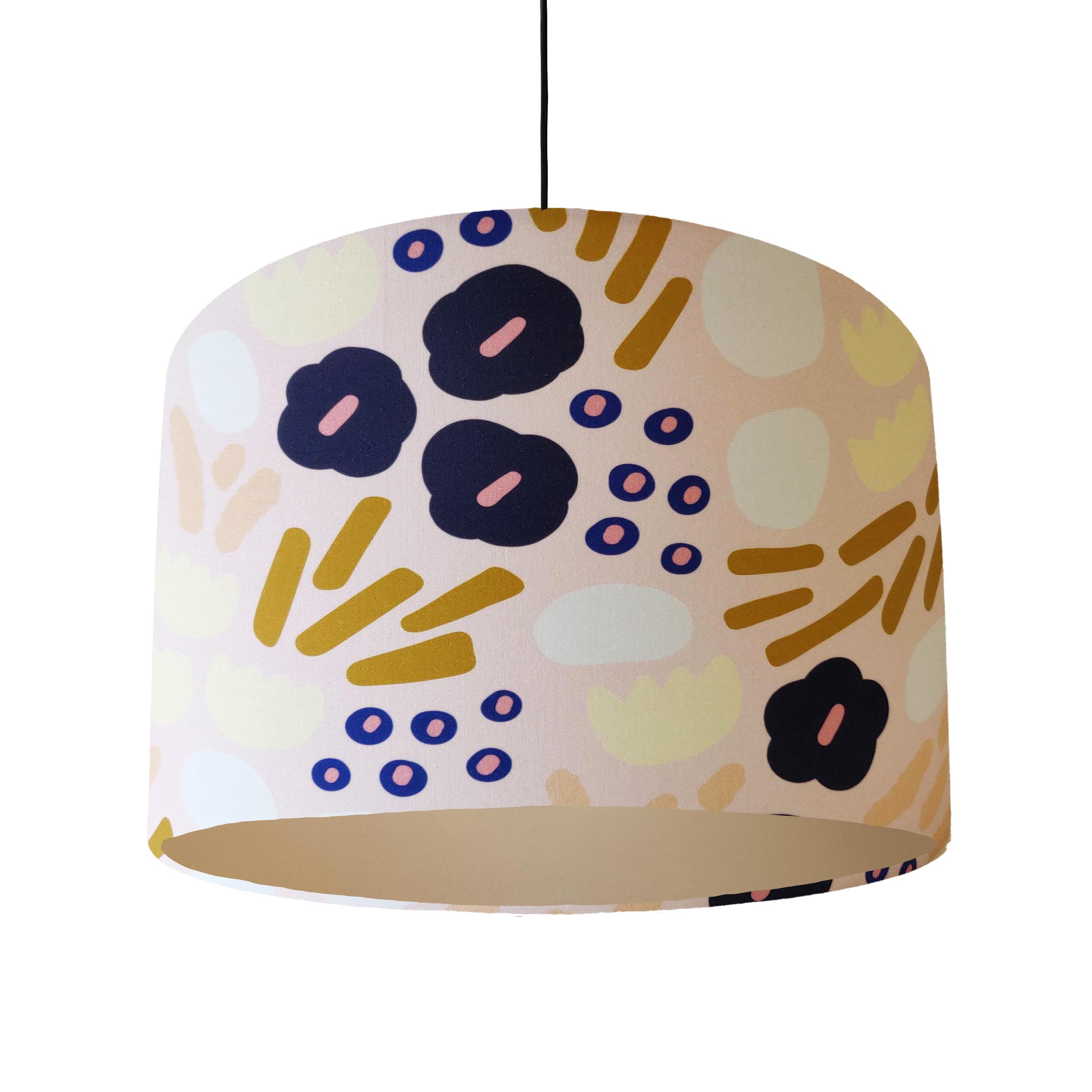Blush Pink Garden Glory Lampshade with Champagne Lining