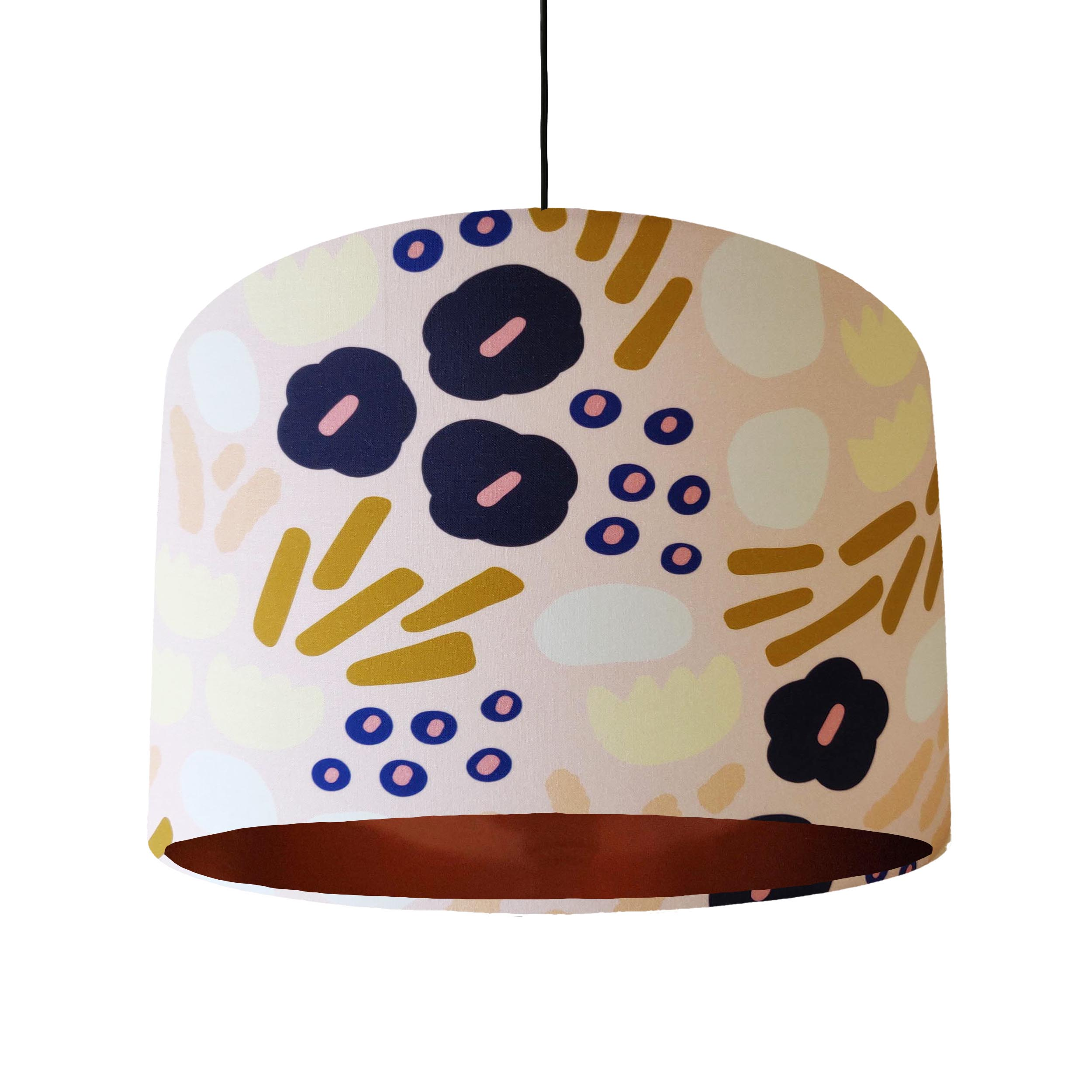 Blush Pink Garden Glory Lampshade with Copper Lining