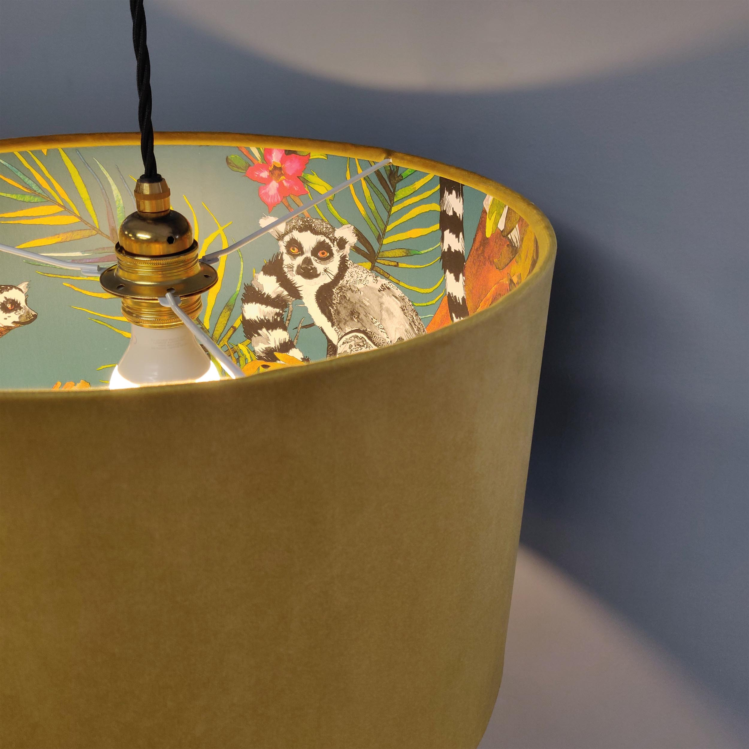 Mustard Yellow Lampshade in Velvet with a Lemur Lining