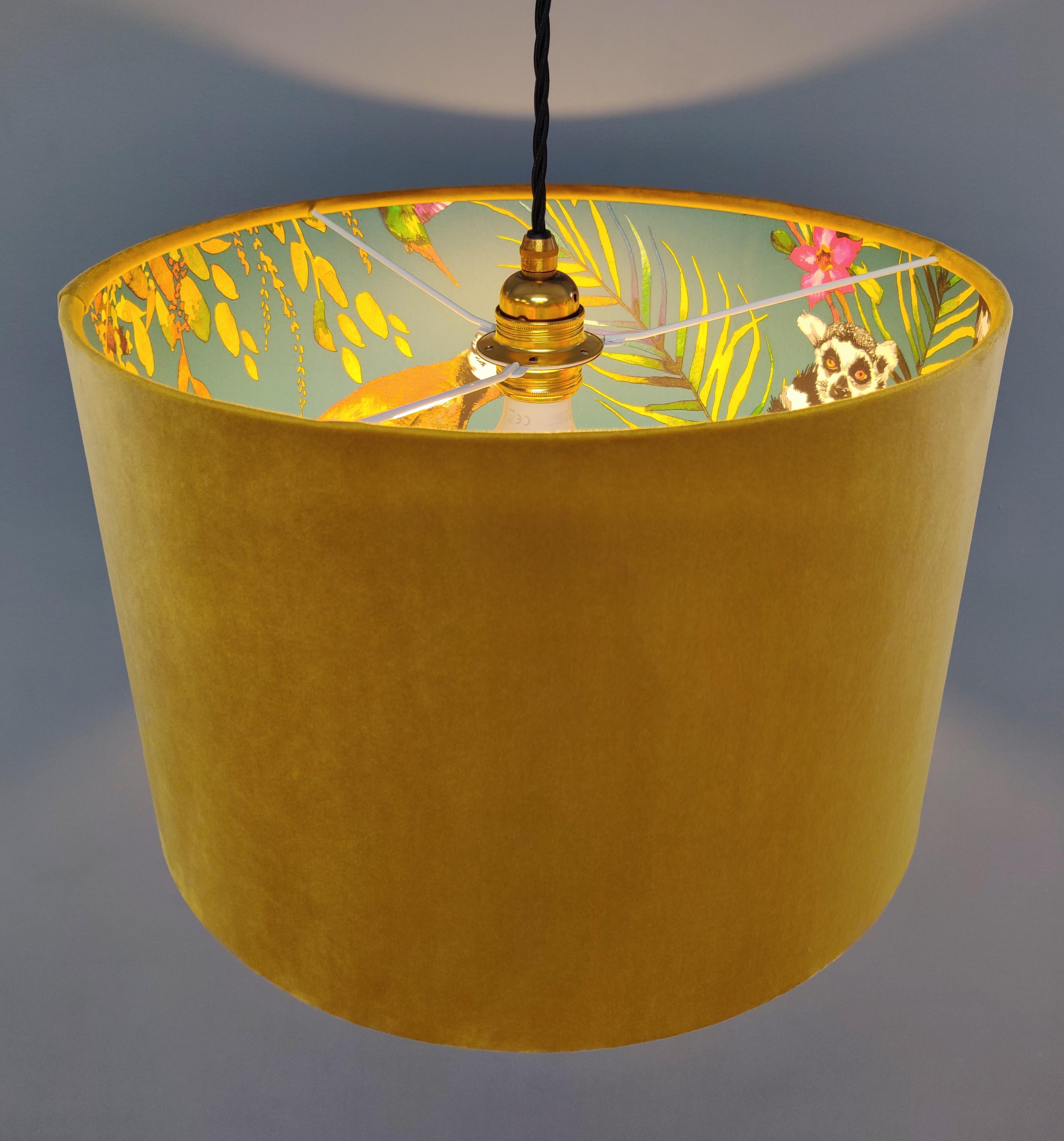 Mustard and Lemur Lamp Shade in Soft Velvet