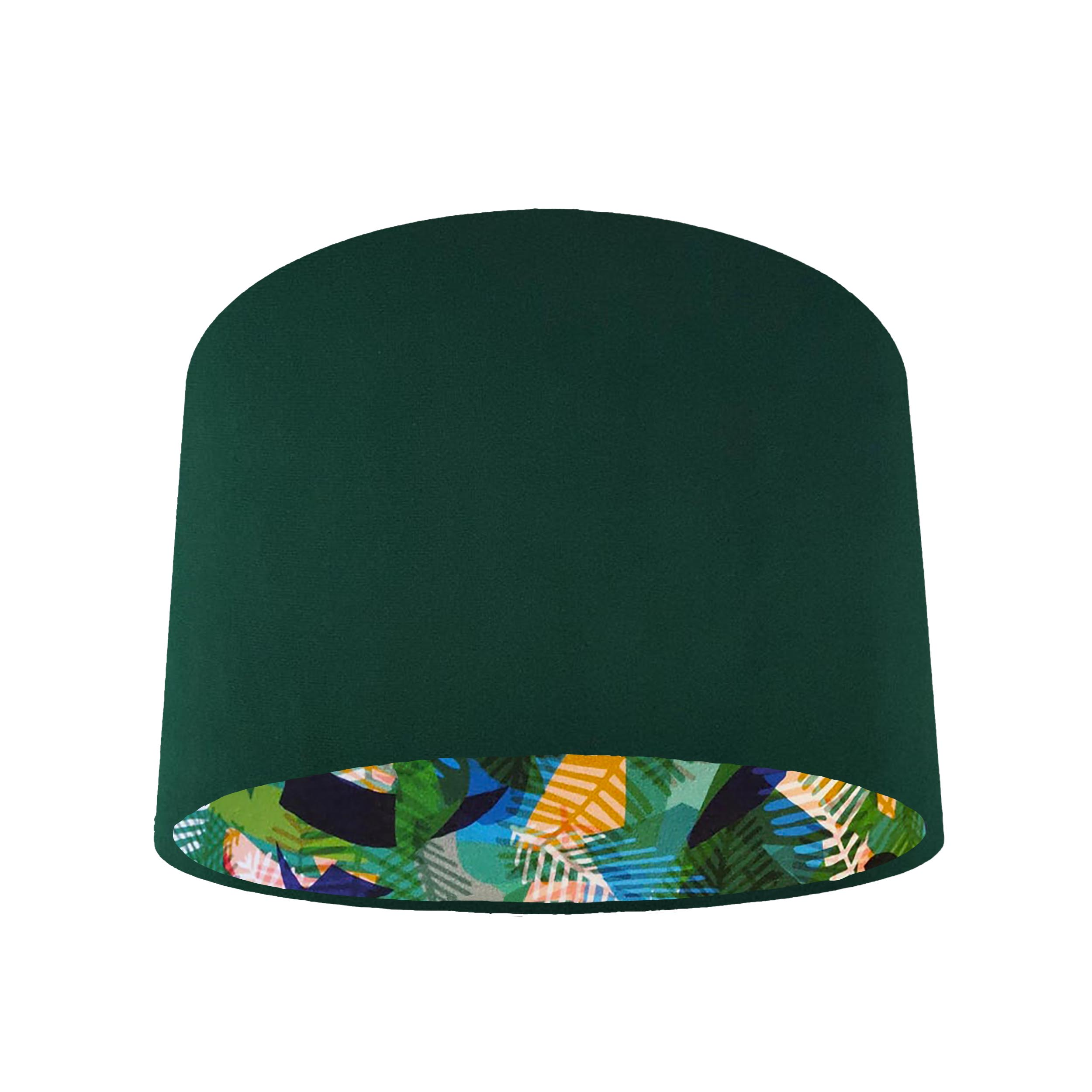 Green Velvet Lampshade with Green Geometric Leaf Lining