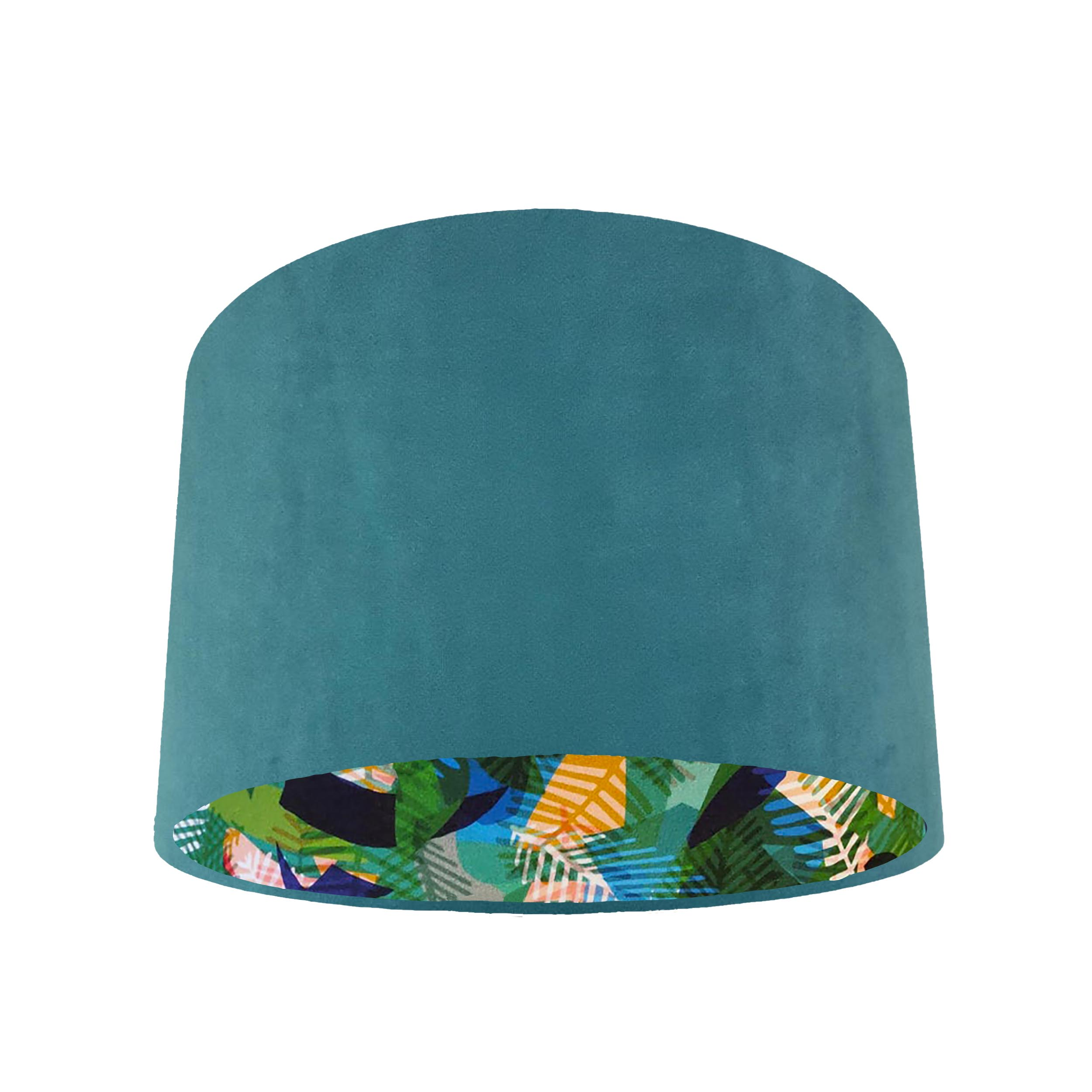 Teal Velvet Lampshade with Green Geometric Leaf Lining