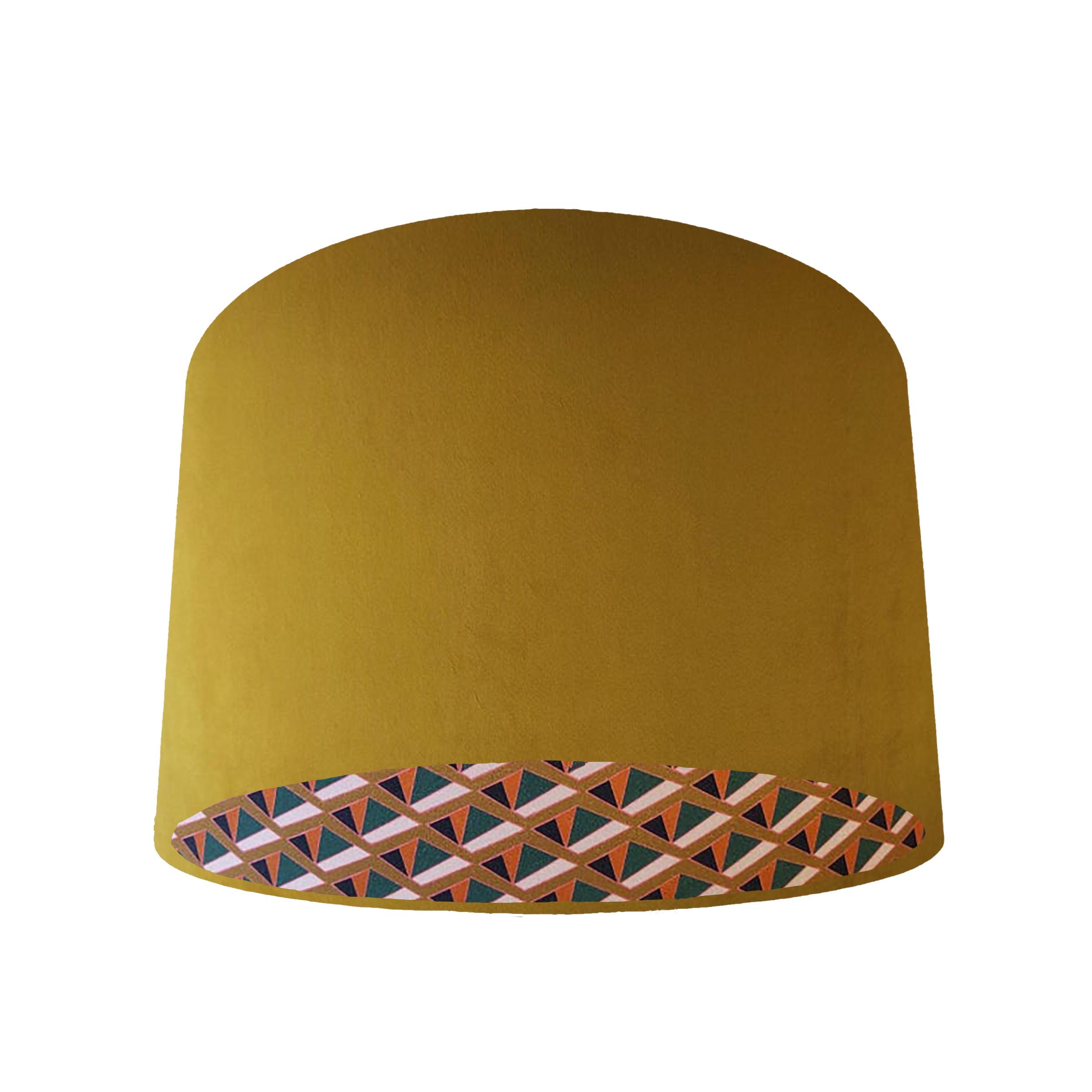 Mustard Velvet and Geometric Lined Lampshade