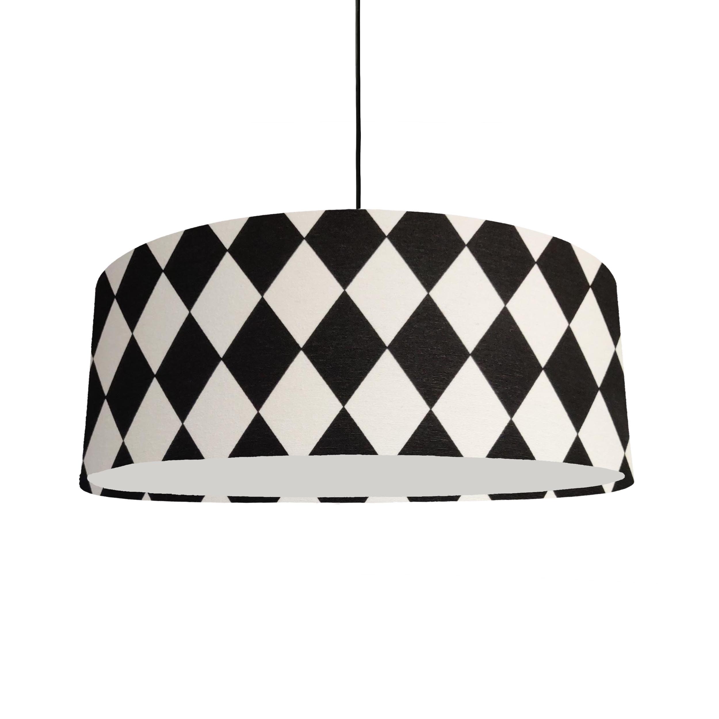 Extra Large Lampshade in Black and White Chequered Fabric