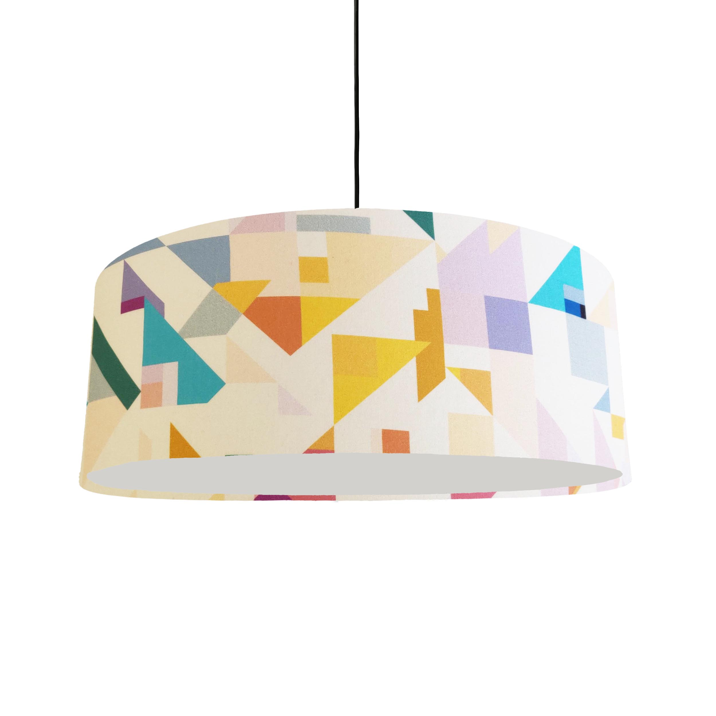 Extra Large Ceiling Lightshade in a White Geometric Cotton Fabric
