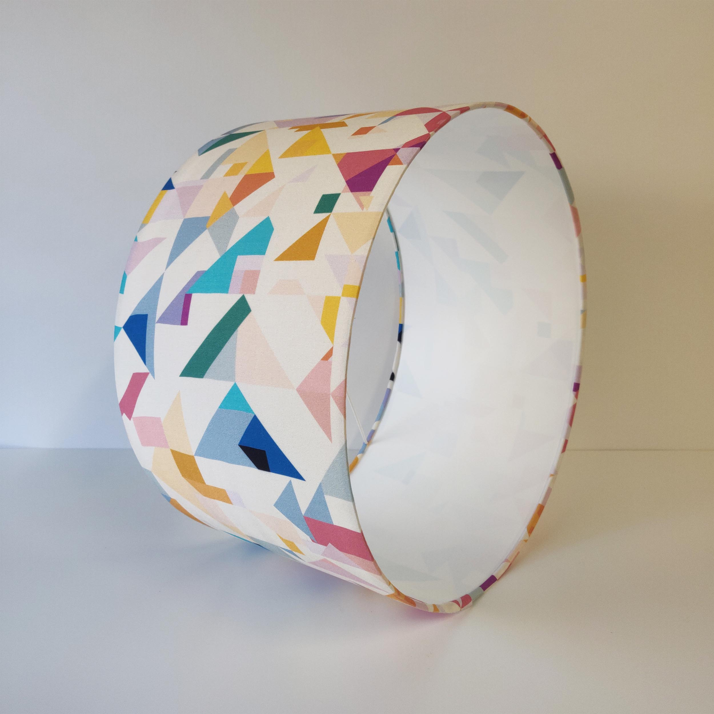 White and Pink Geometric Lampshade with optional diffuser