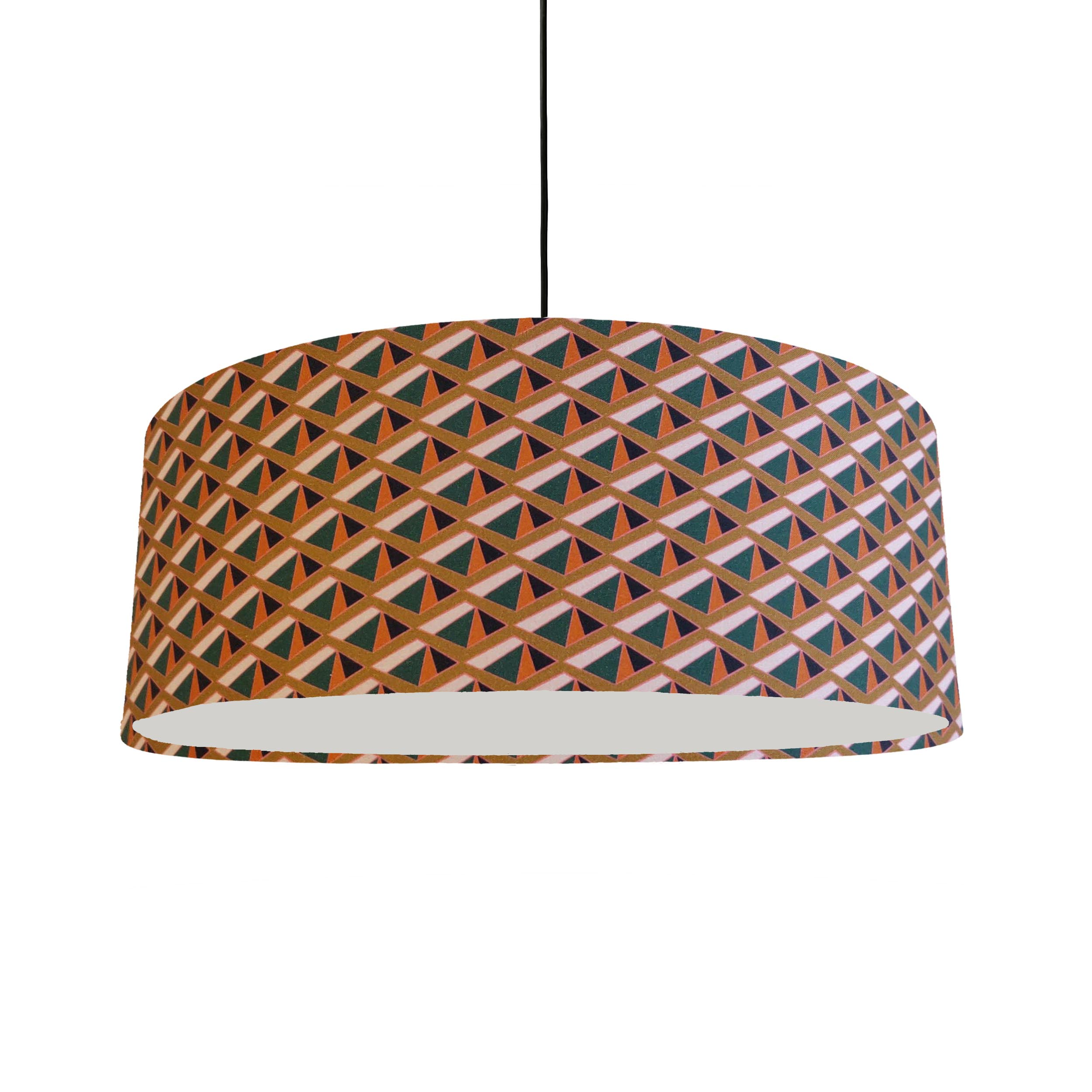 Extra Large Ceiling Lightshade in an Orange Geometric Cotton Fabric
