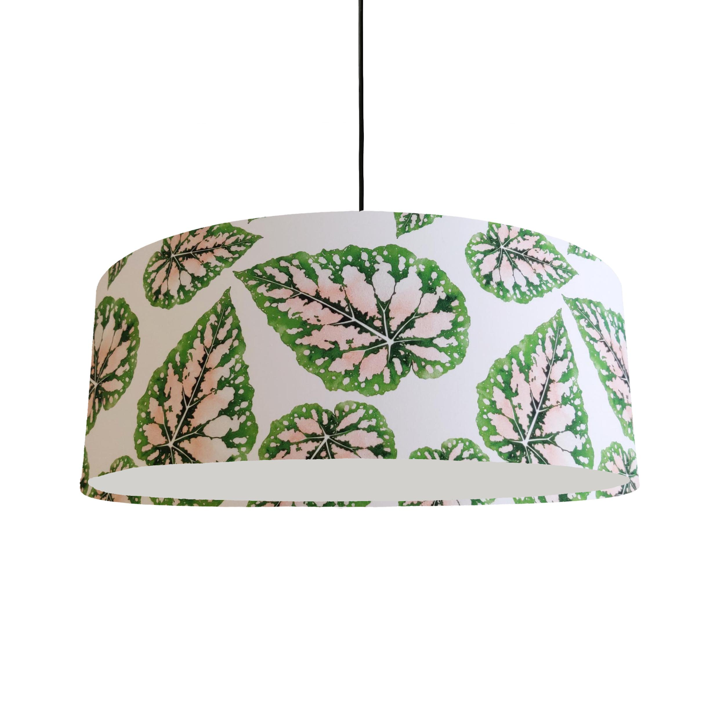 Extra Large Botanical Lampshade in a Green and Pink Leaves Fabric