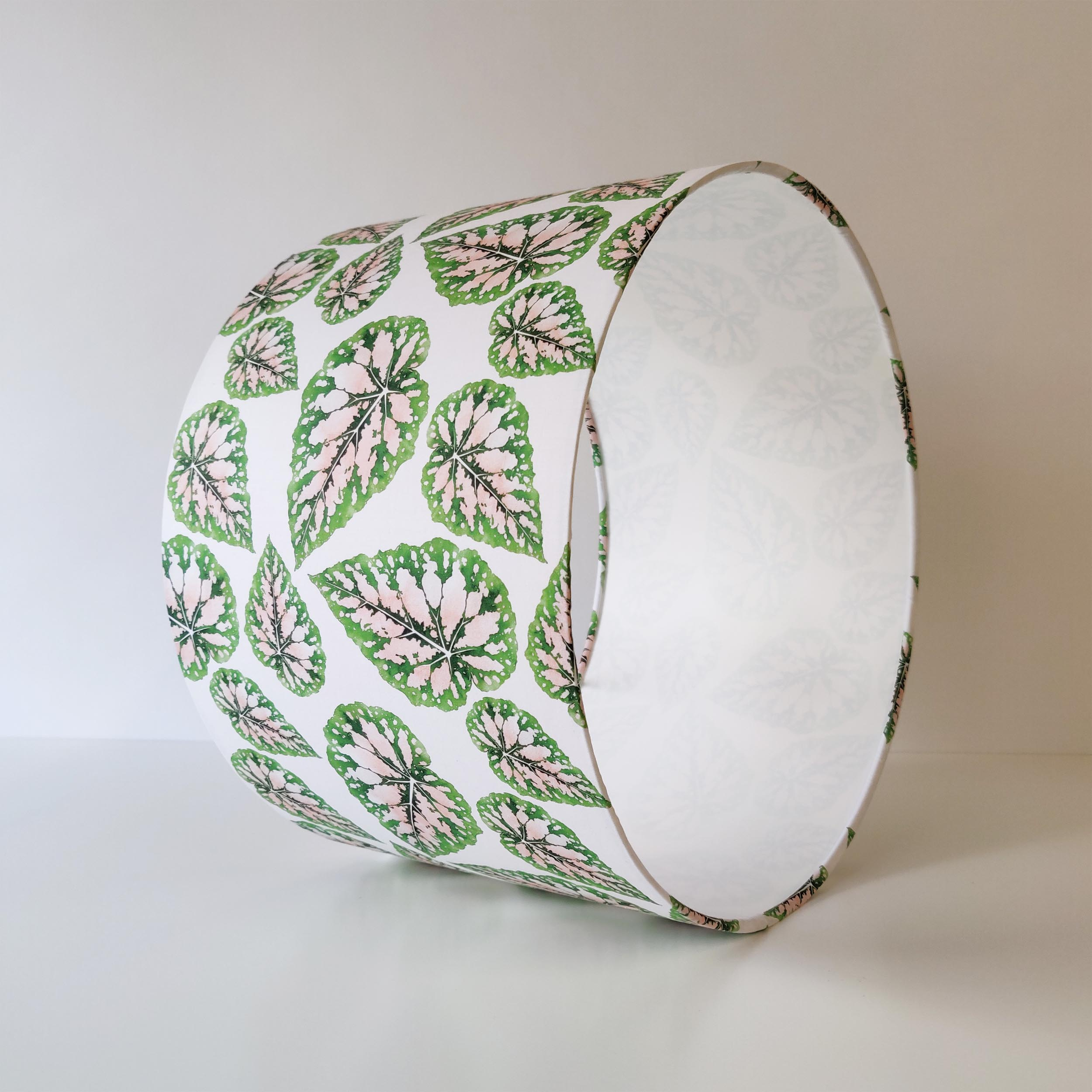 Green Leaves Lampshade in a White and Pink Fabric