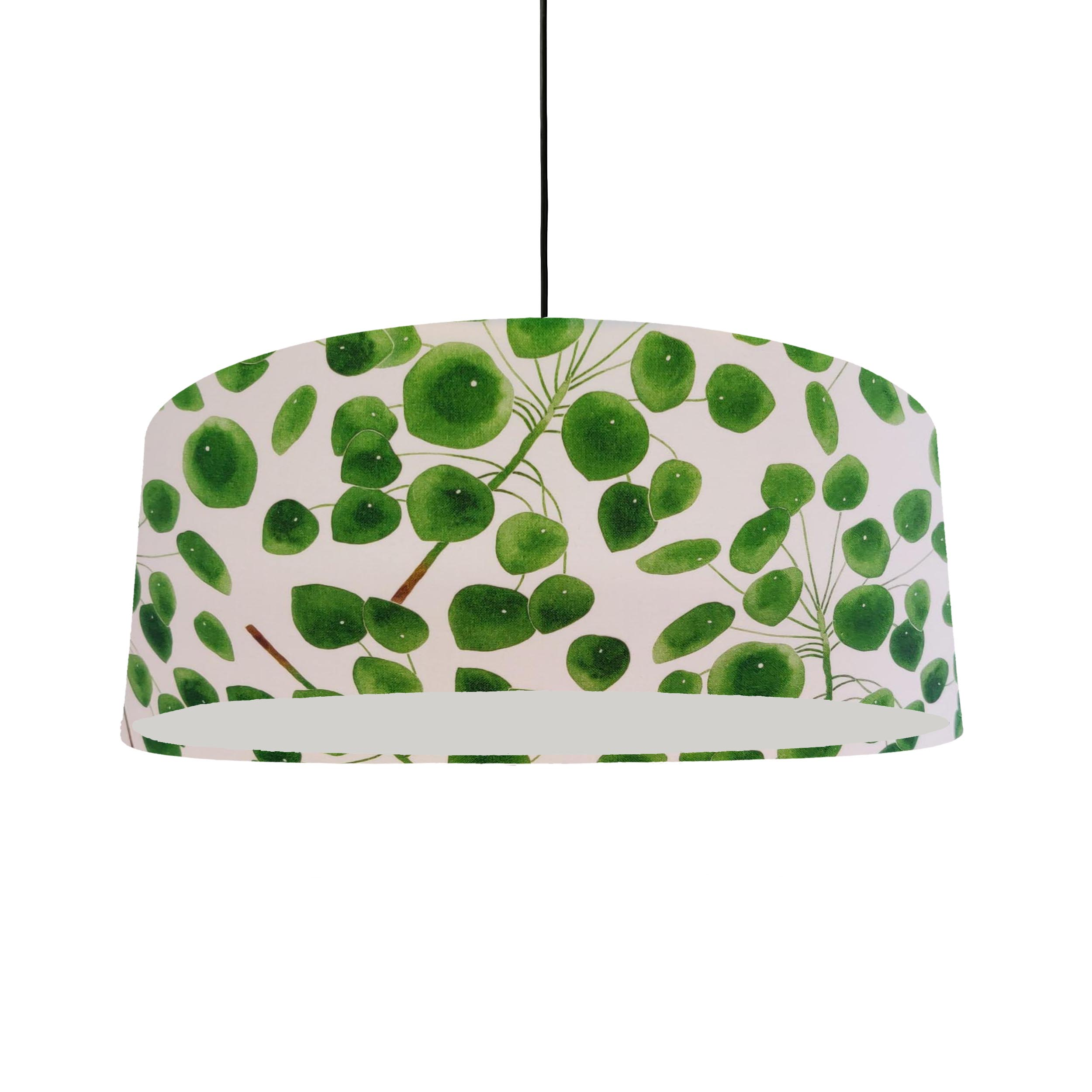 Extra Large Eucalyptus Leaves Lampshade in White and Green