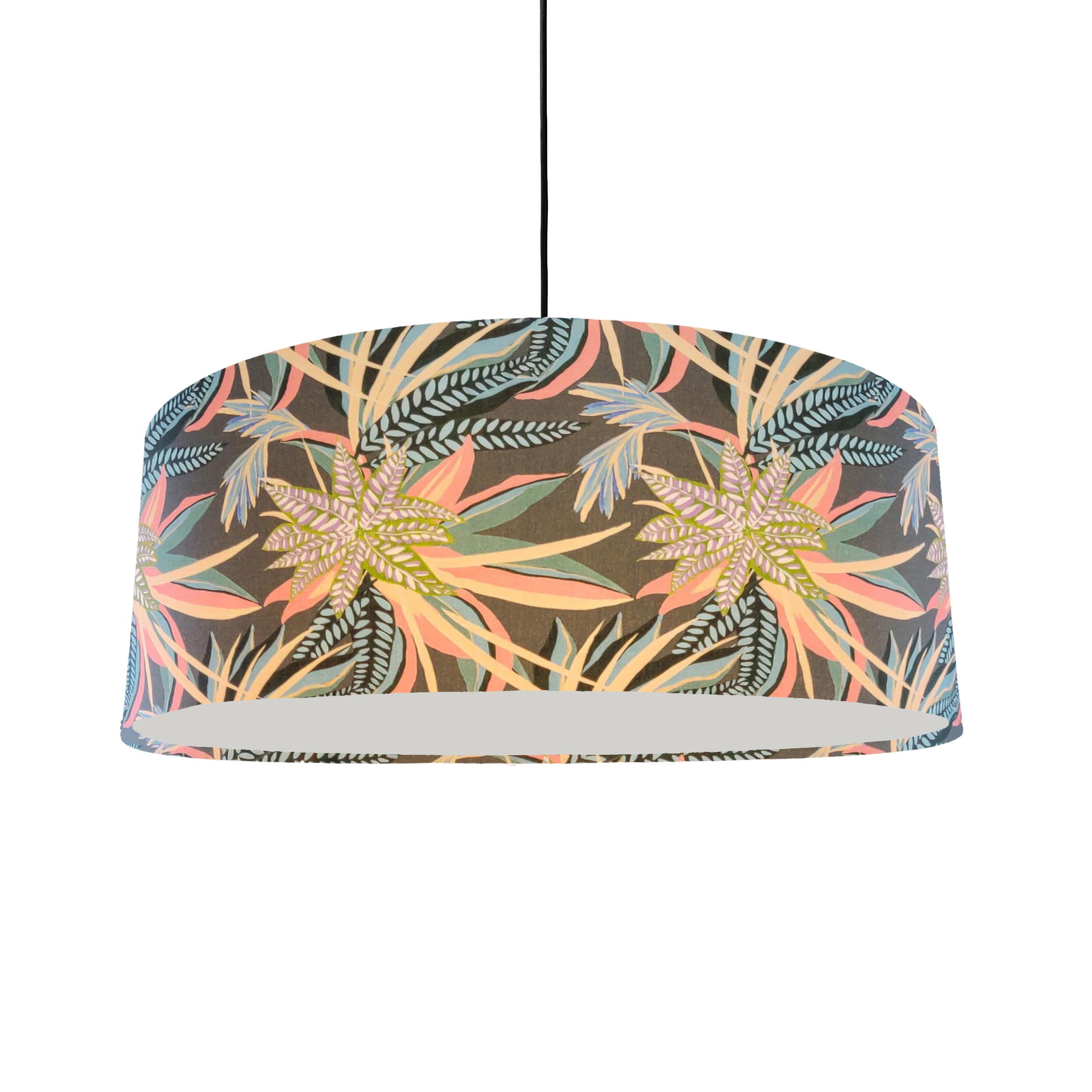 Extra Large Teal Bloom Lampshade in a Botanical Print