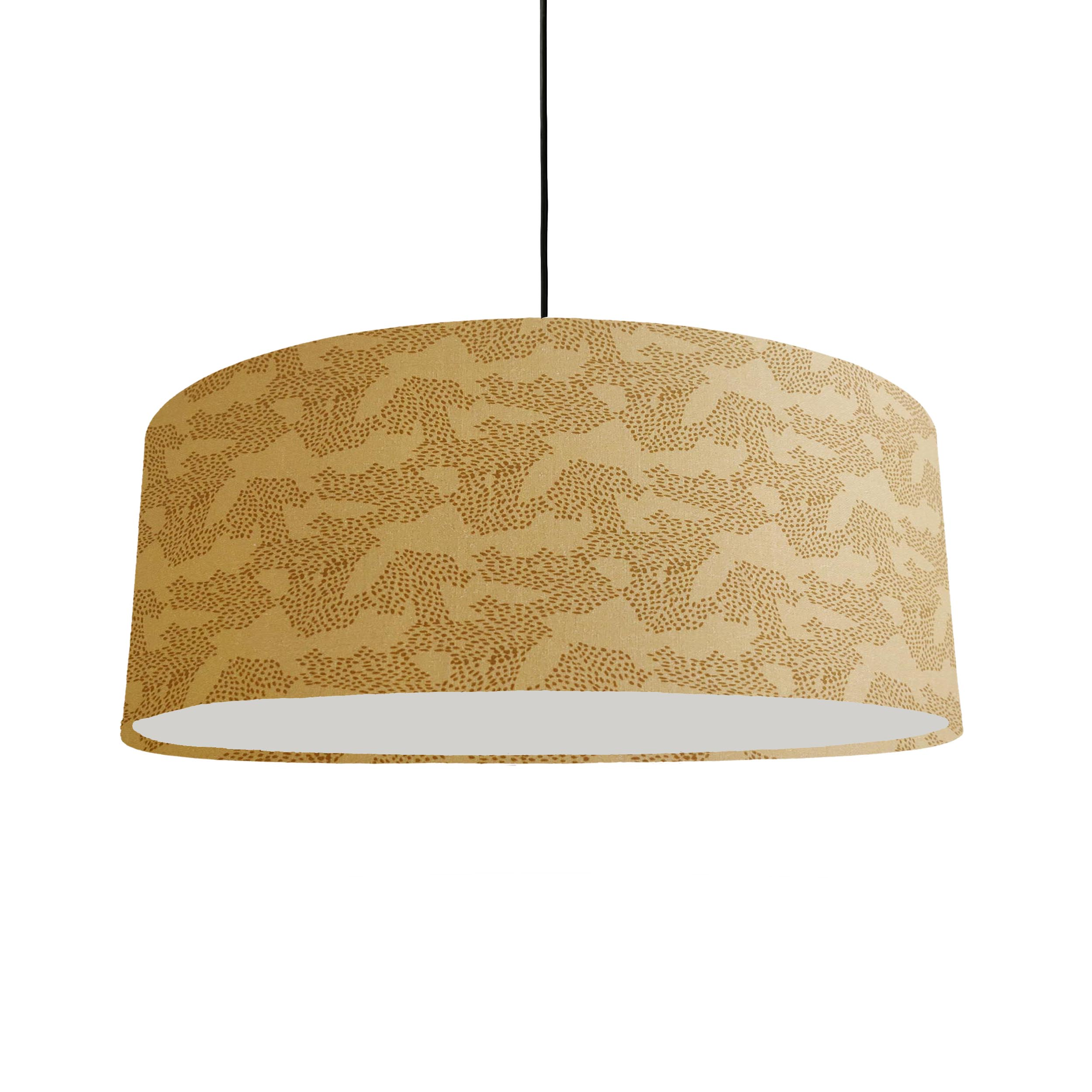 Extra Large Mustard Hanging Lampshade with Geometric Design