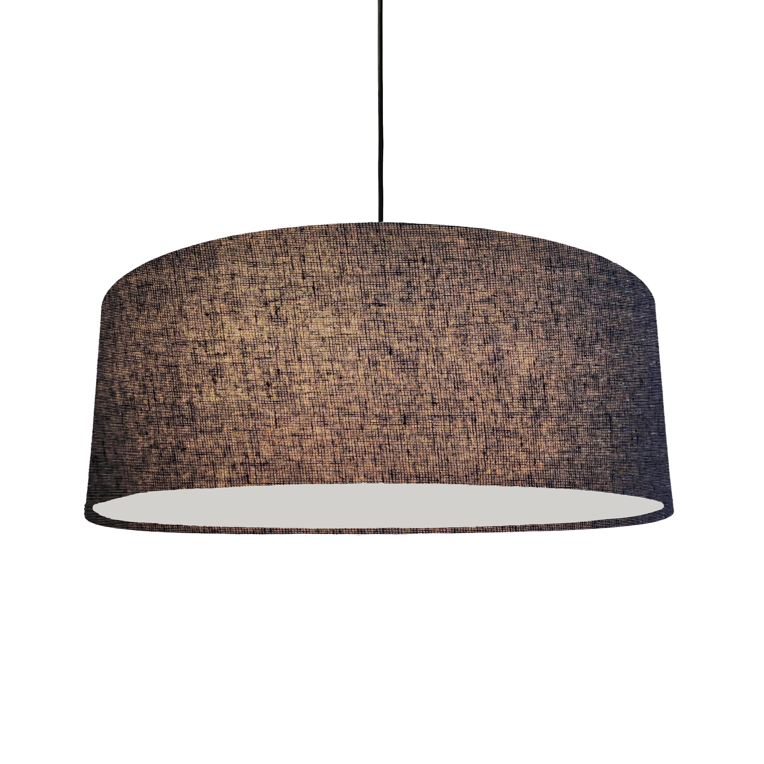 Extra Large Navy Blue Homespun Lampshade with a Linen Weave