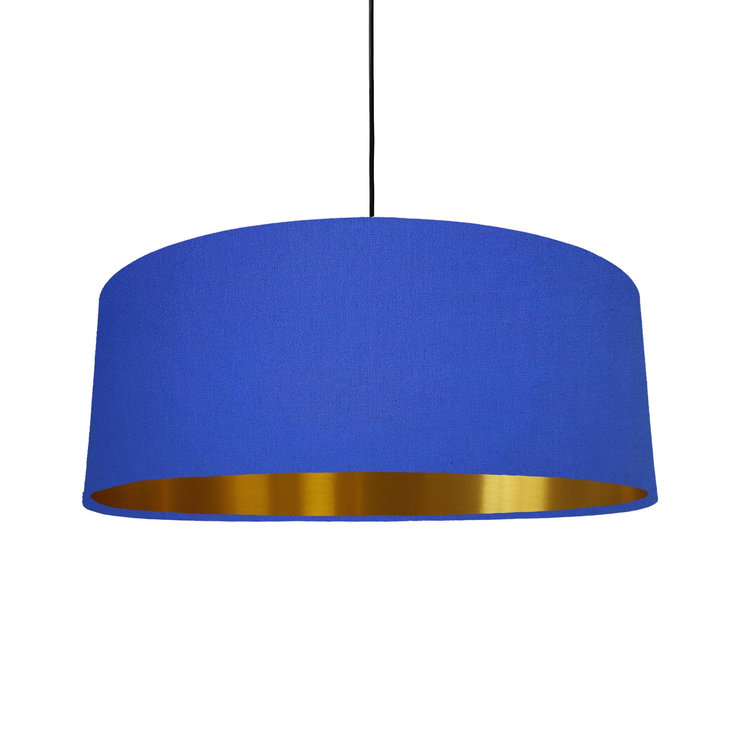 Extra Large Lampshade in Royal Blue Cotton and a Brushed Gold Lining
