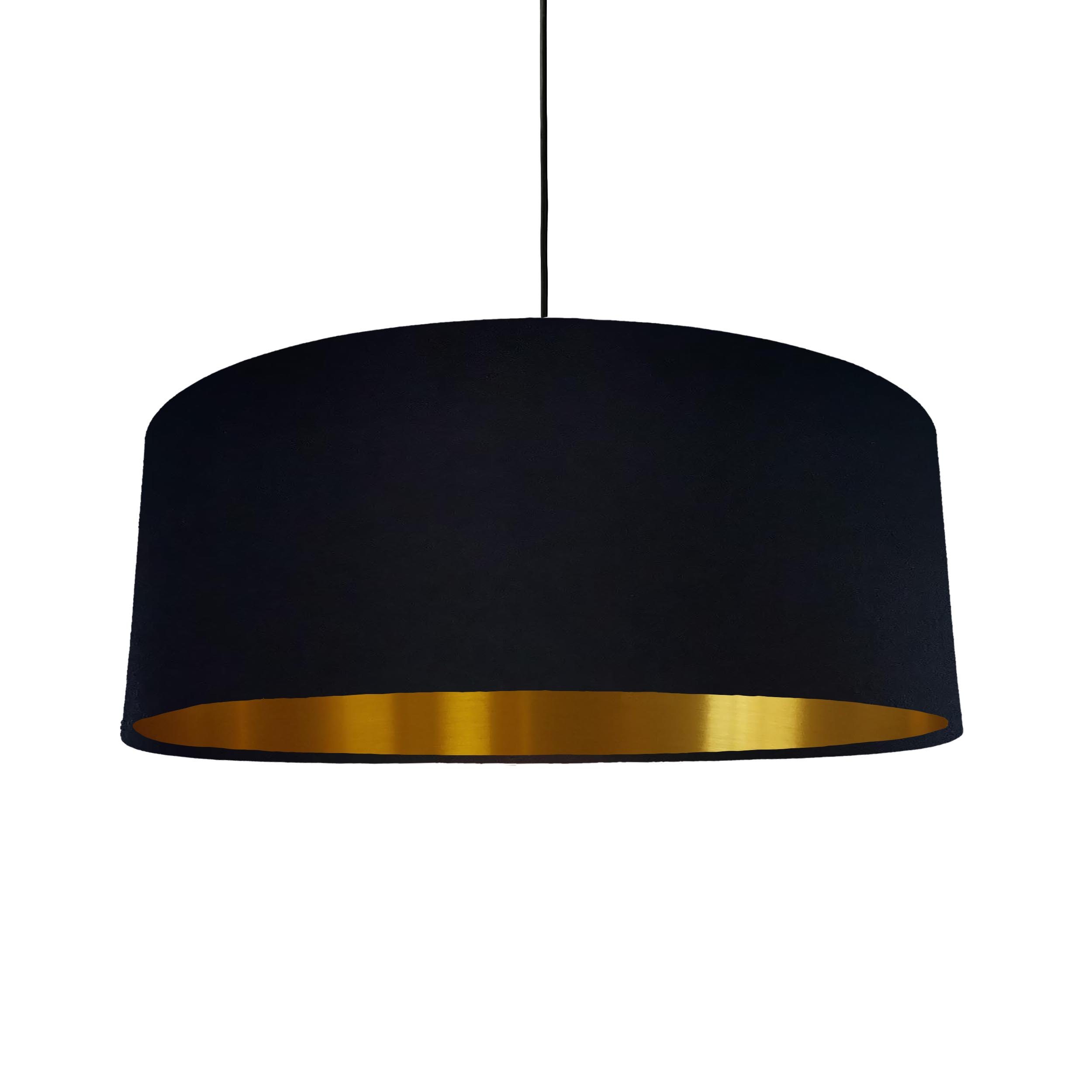 Extra Large Lampshade in Black Cotton and a Brushed Gold Lining