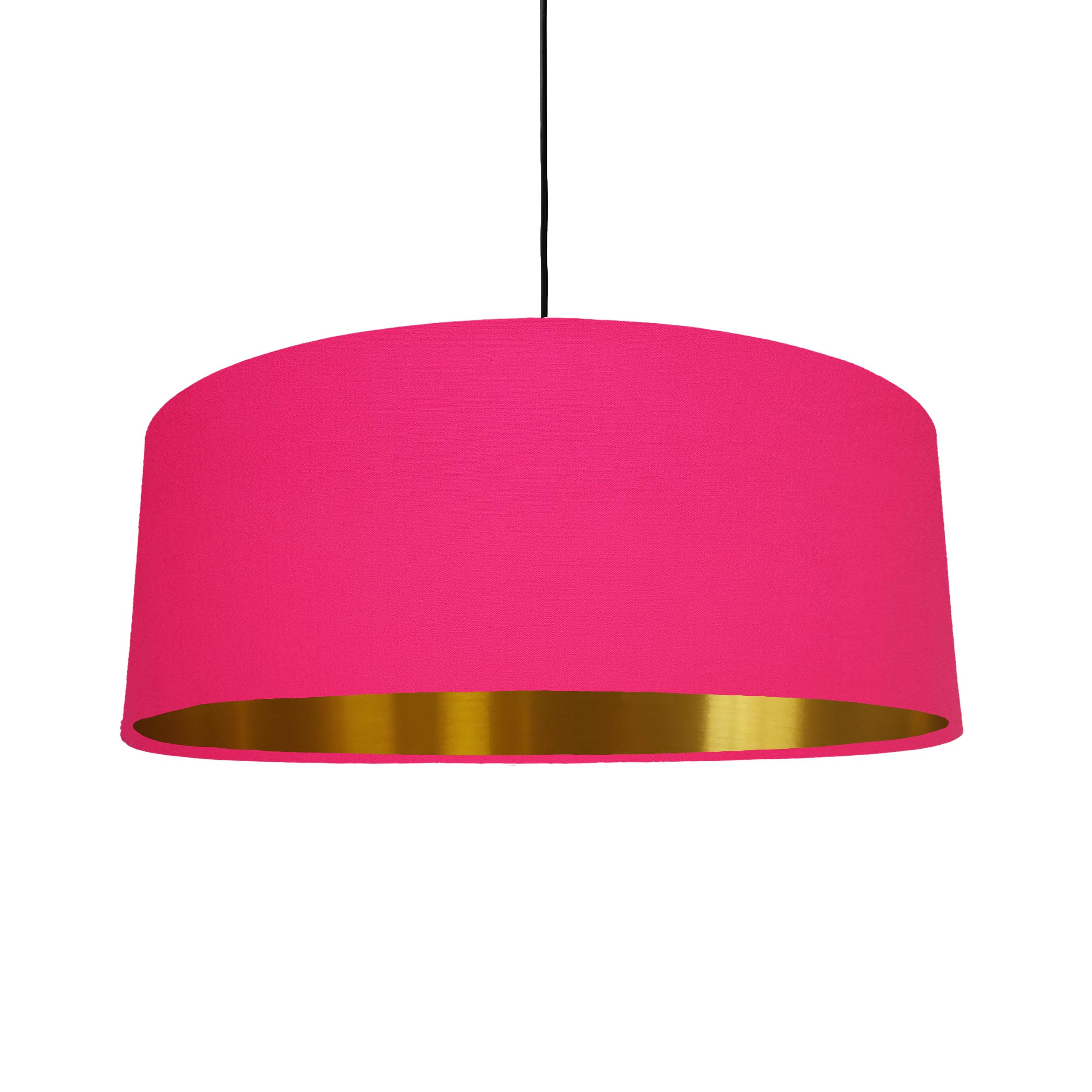 Extra Large Lampshade in Bright Pink Cotton and a Brushed Gold Lining