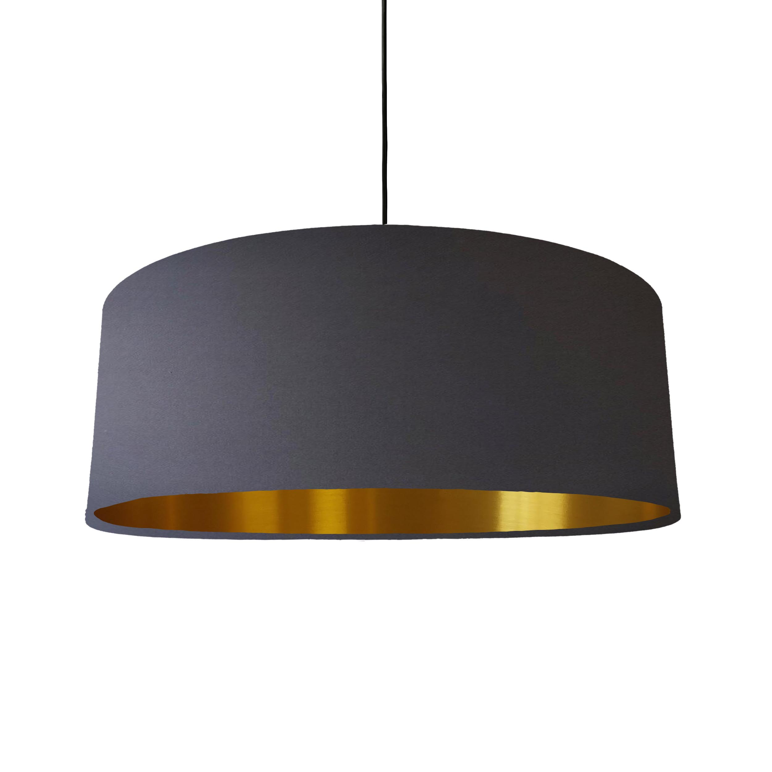 Extra Large Lampshade in Dark Grey Cotton and a Brushed Gold Lining