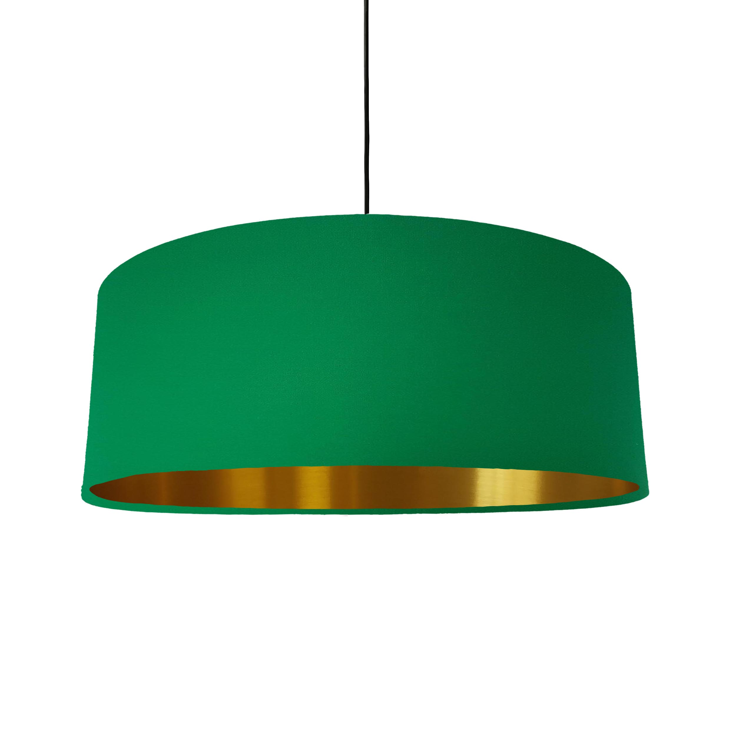 Extra Large Lampshade in Emerald Green Cotton and a Brushed Gold Lining