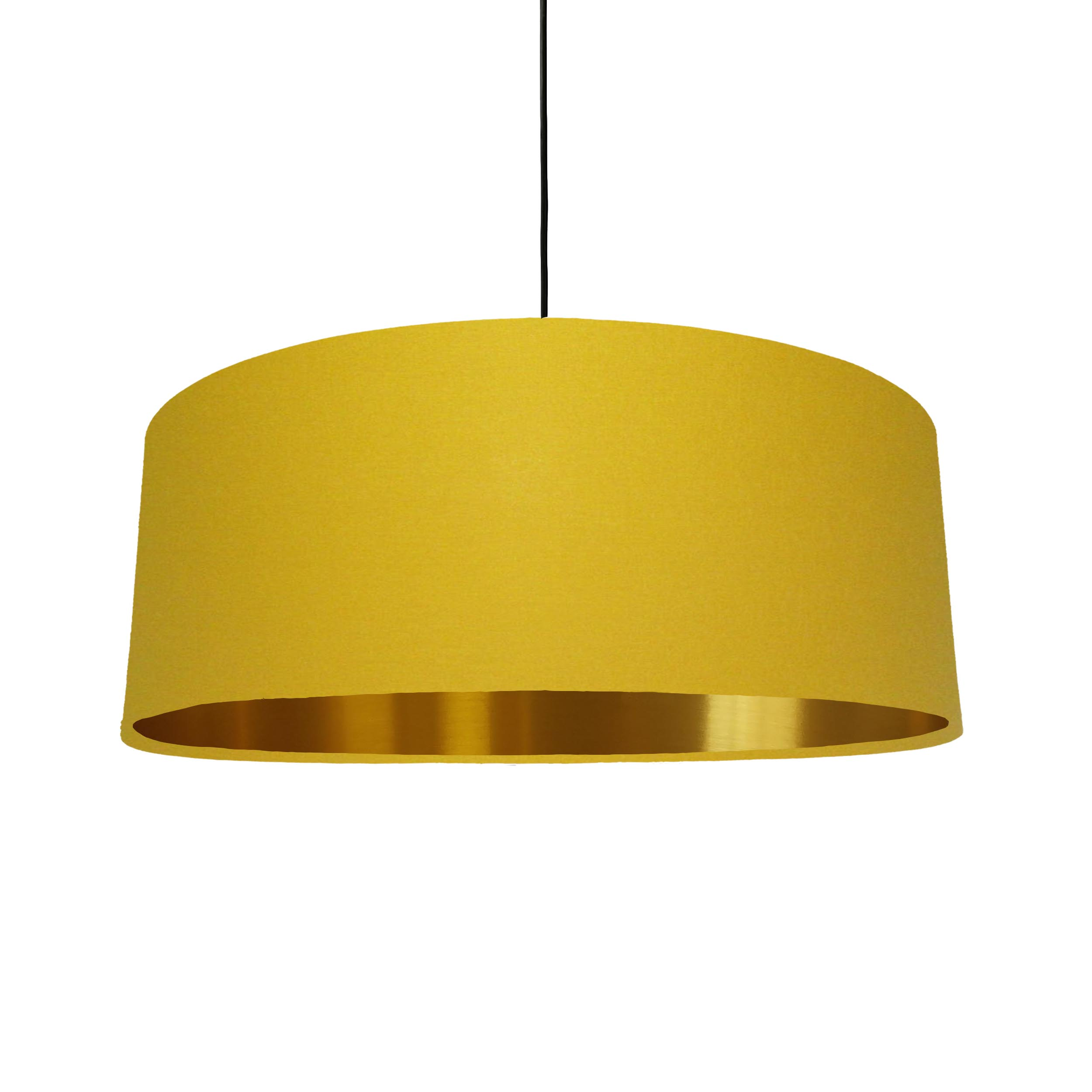 Extra Large Lampshade in Mustard Cotton and a Brushed Gold Lining