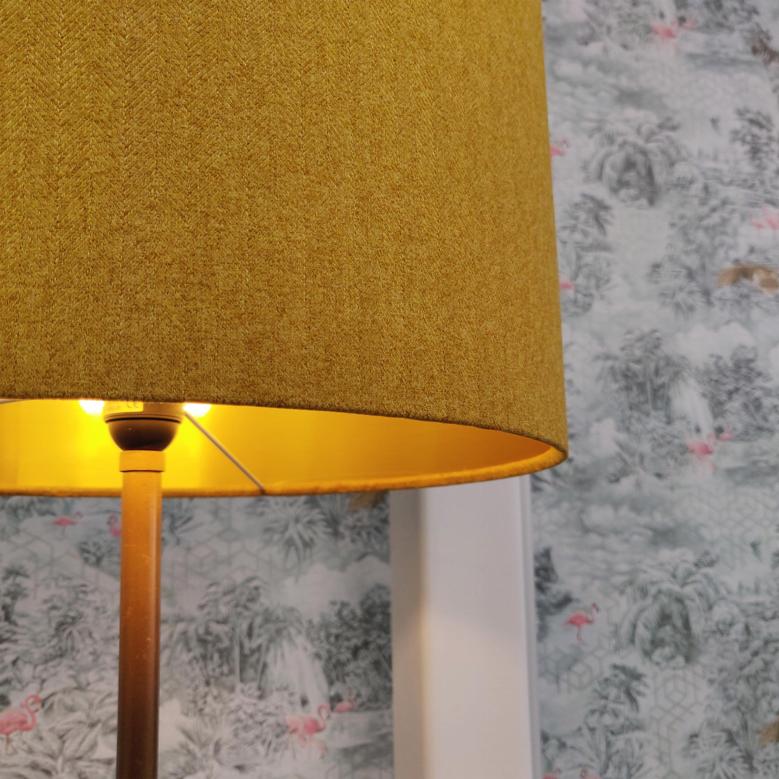 **SALE** Large 40cm Mustard Lampshade in Tweed with Gold Lining