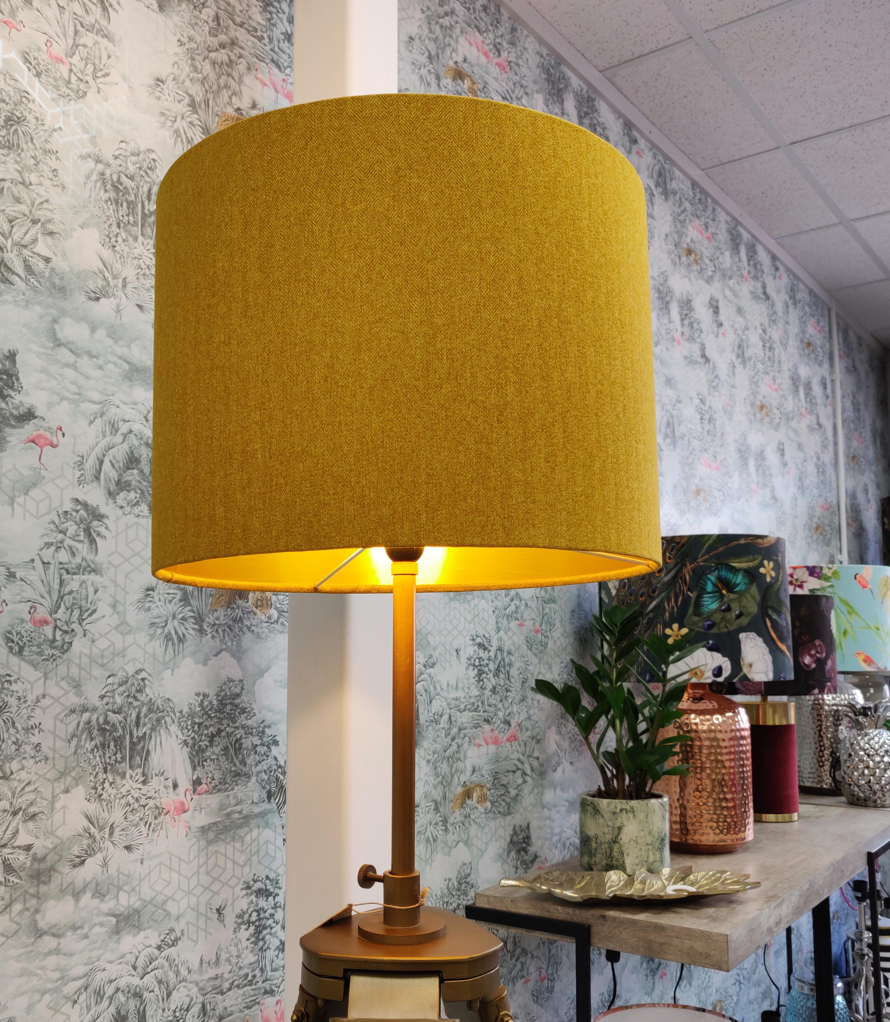 Mustard Lampshade in Soft Tweed and Gold Liner