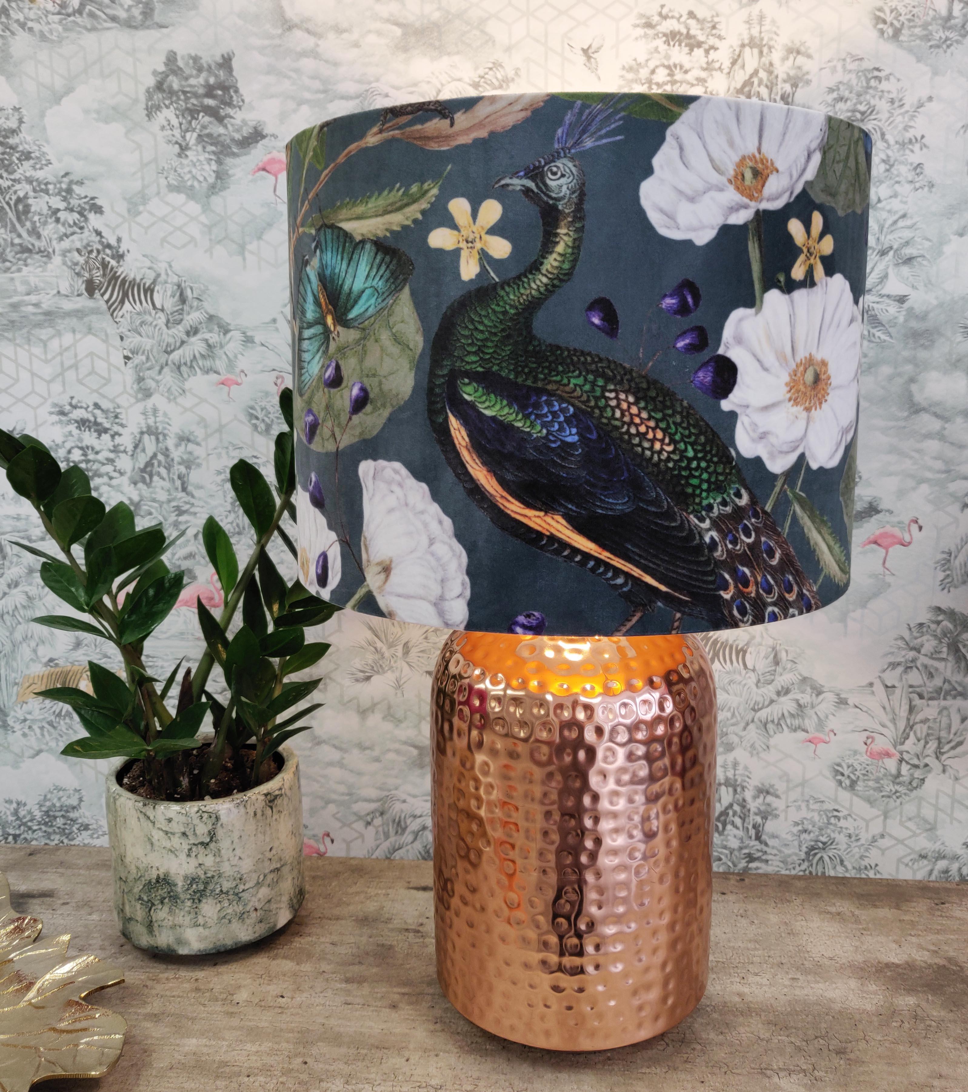 Lampshade in a Velvet Peacock Design