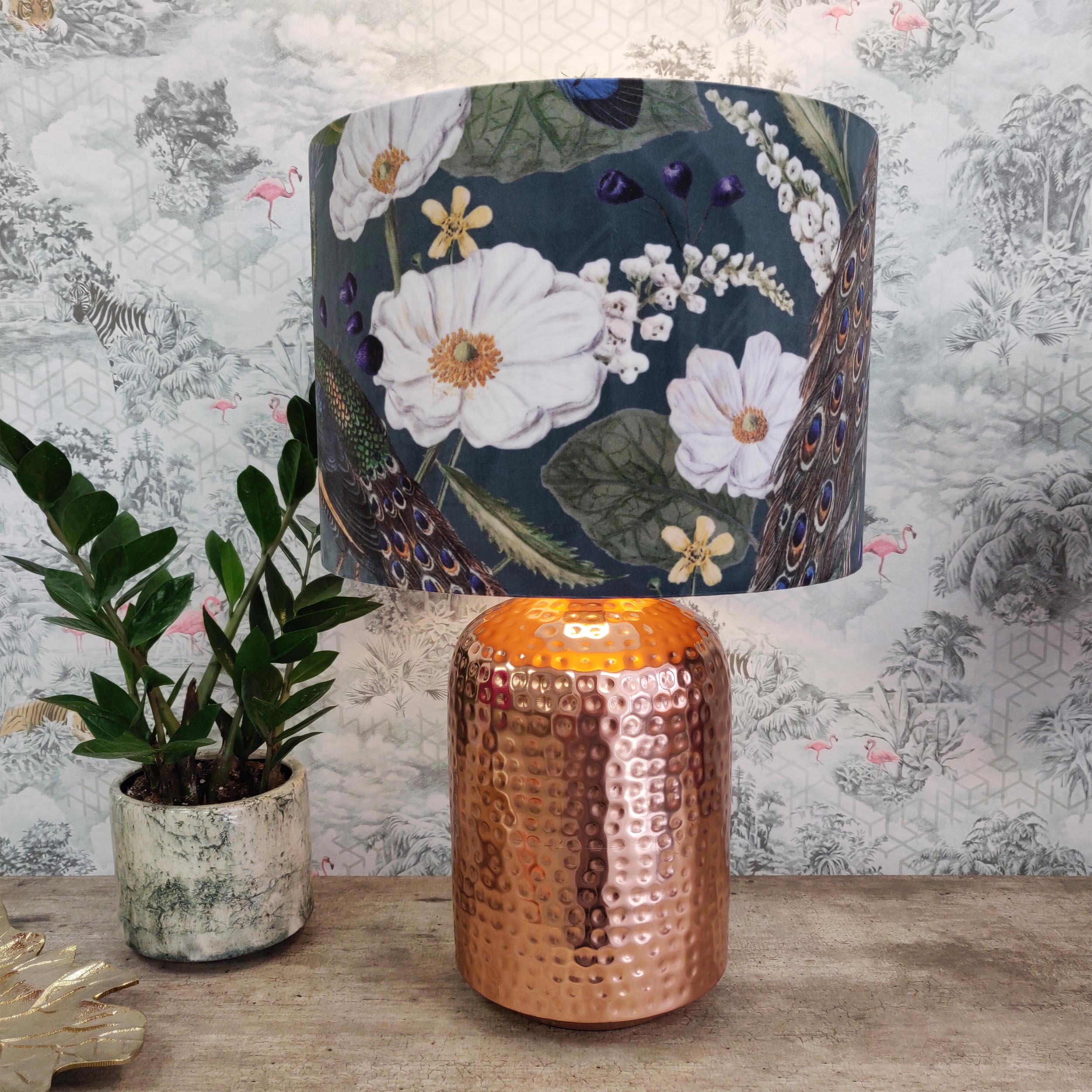 Peacock Lightshade with Velvet Fabric