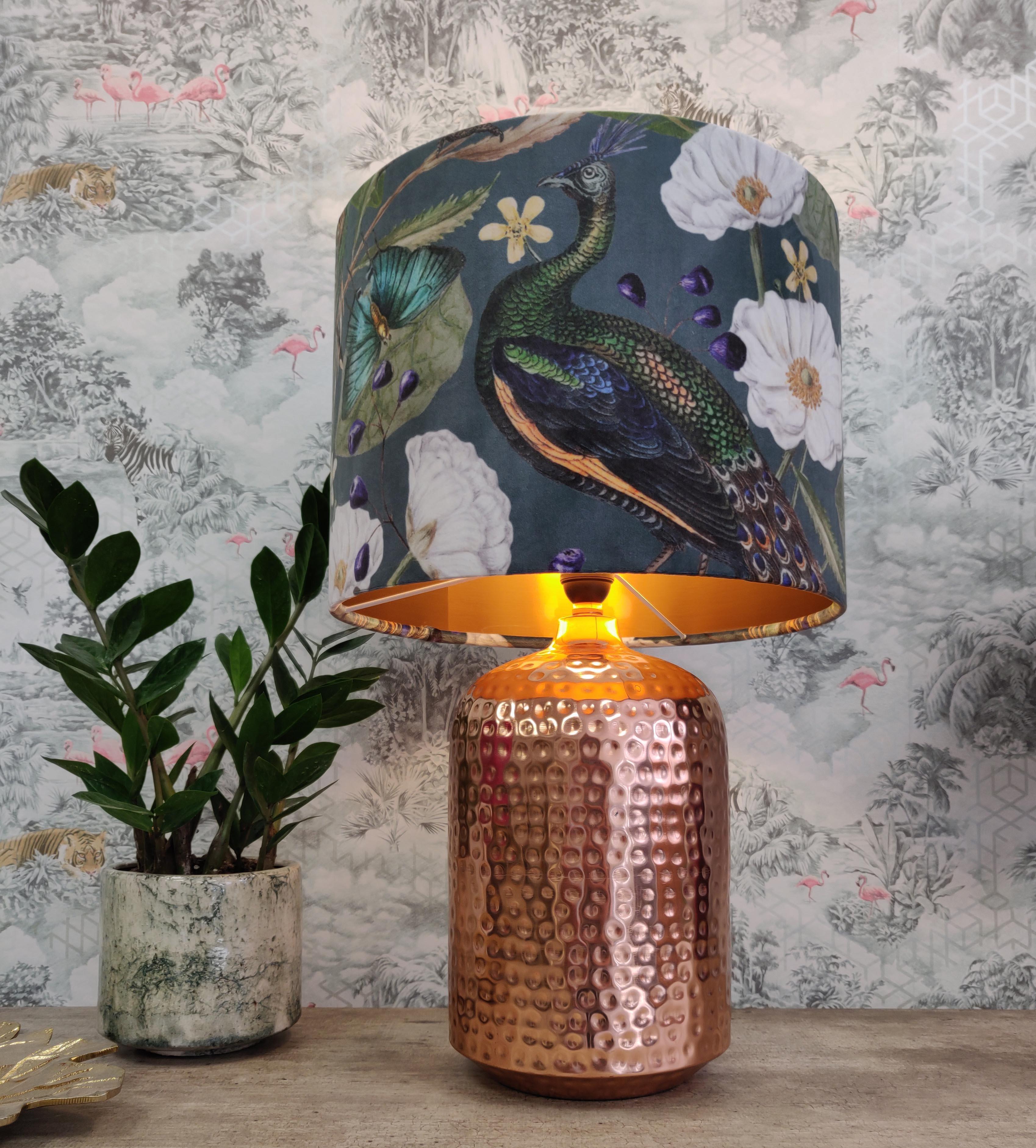 Velvet Peacocks Lightshade with Copper Liner
