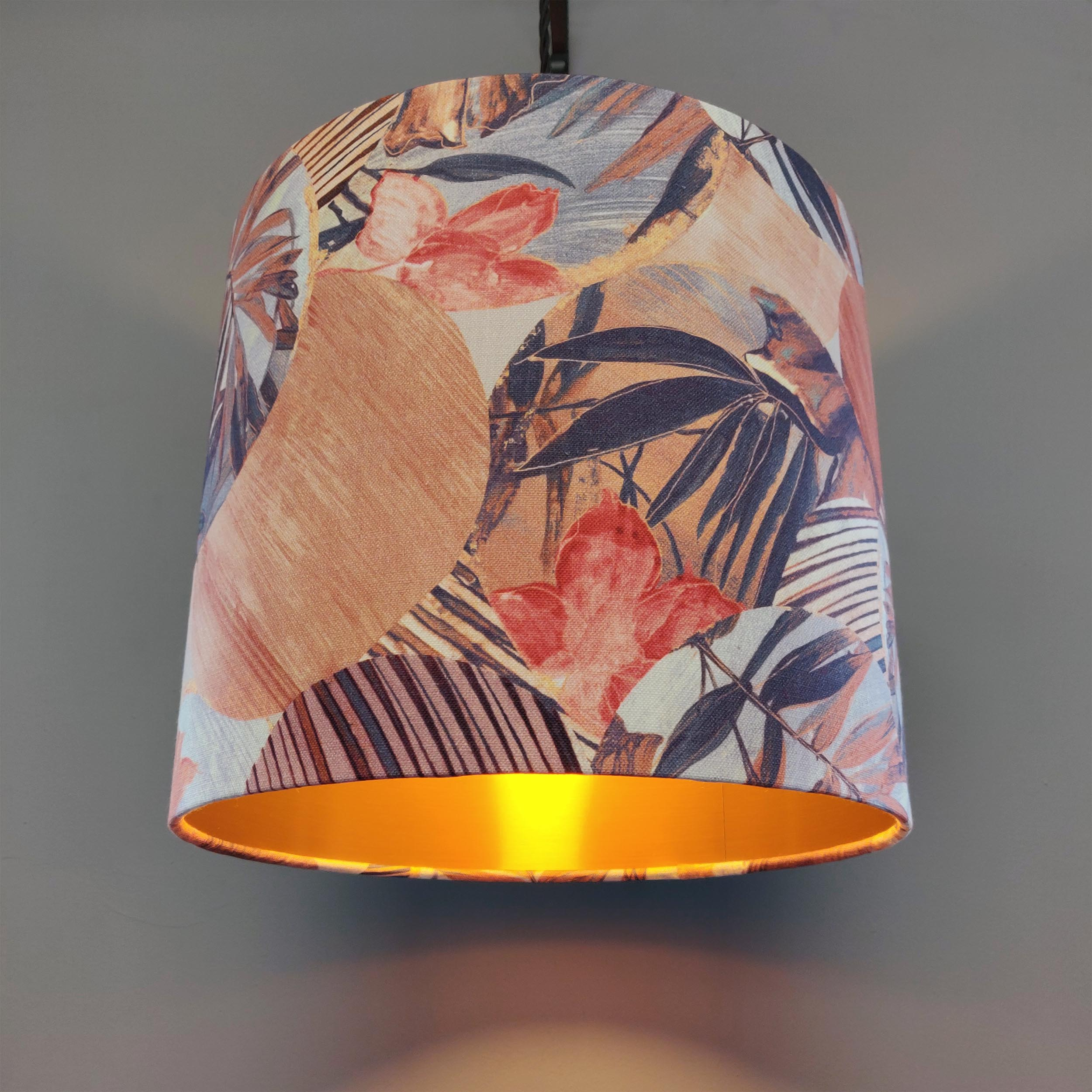 Lampshade in Kyoto fabric with an Origami design, in Brown and Pink Patterned Floral Cotton