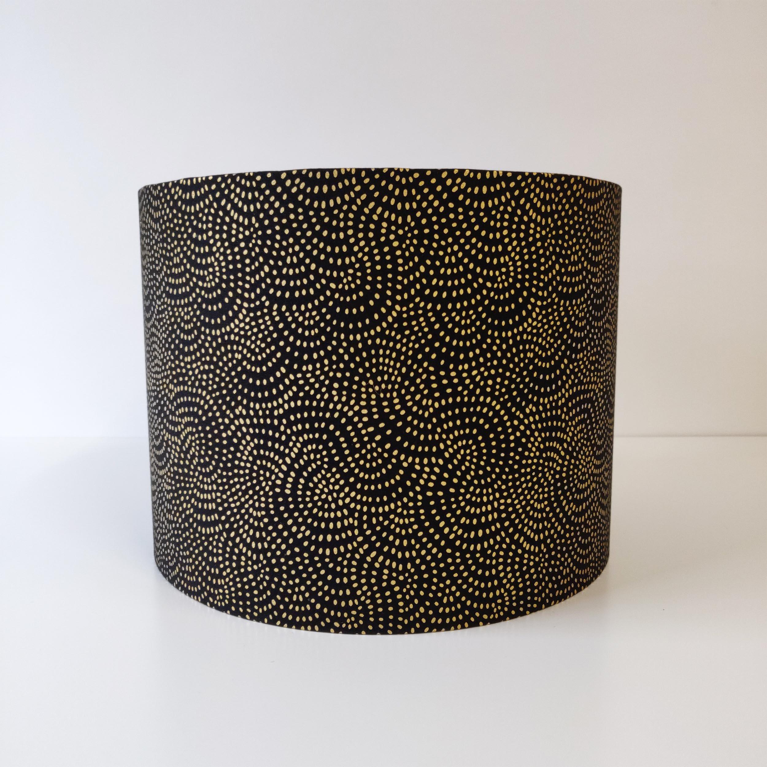 Black Geometric and Gold Lined Lampshade