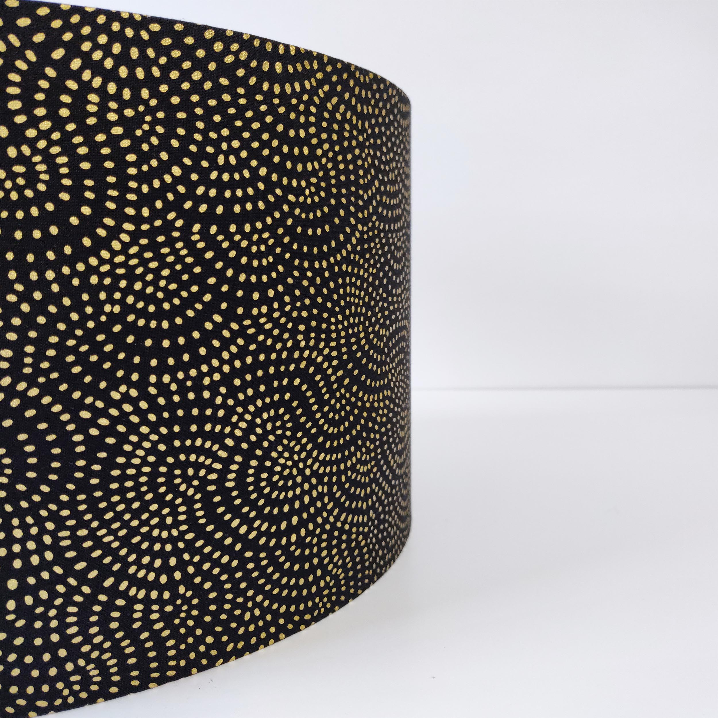 Black and Gold Swirls Lampshade with Gold Lining