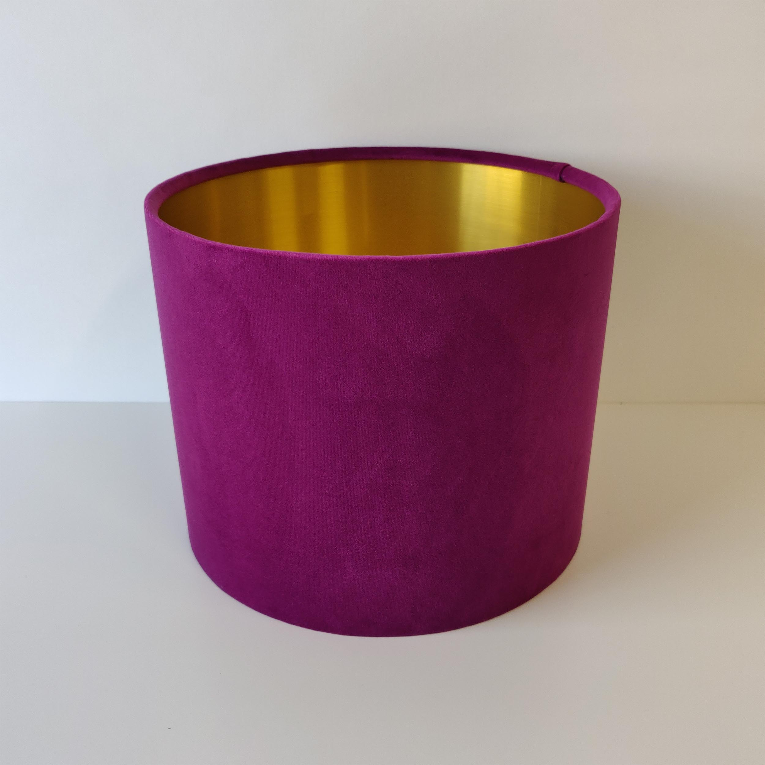 Plum Purple Velvet Lampshade with Gold Lining