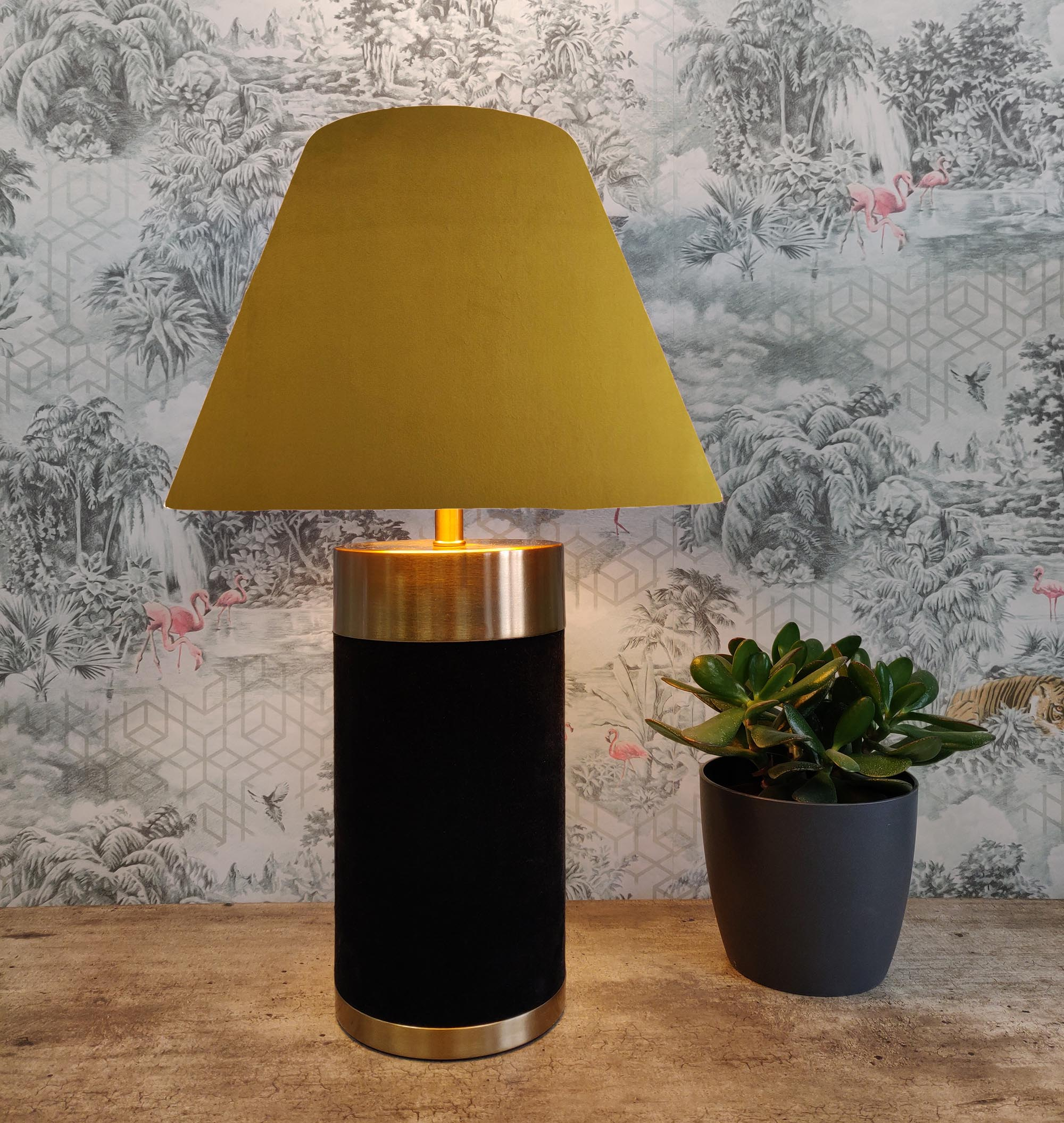 Empire Lampshade in Mustard Yellow Velvet and Choice of Lining