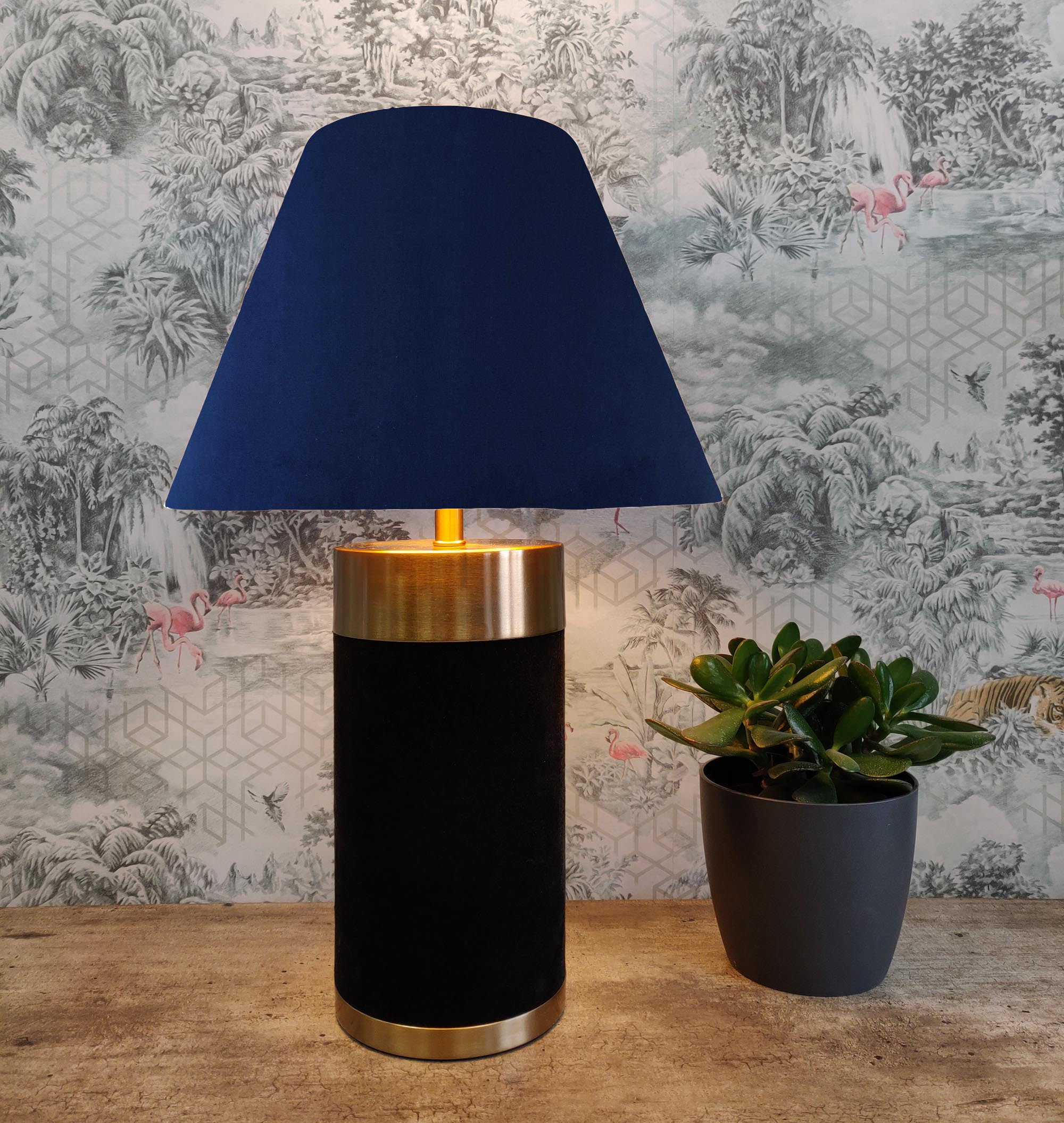 Empire Lampshade in Navy Blue Velvet and Choice of Lining