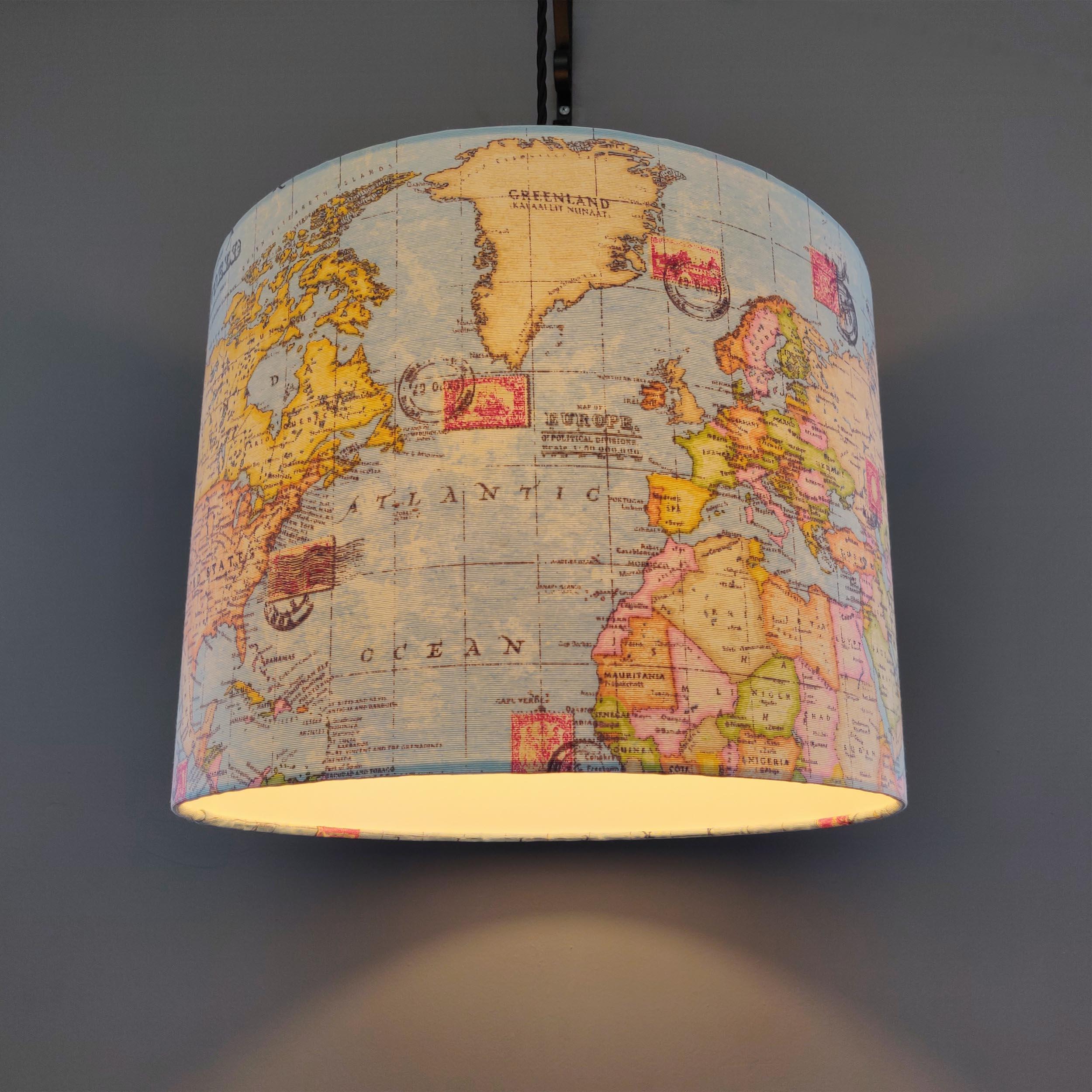 World Map Fabric Lampshade