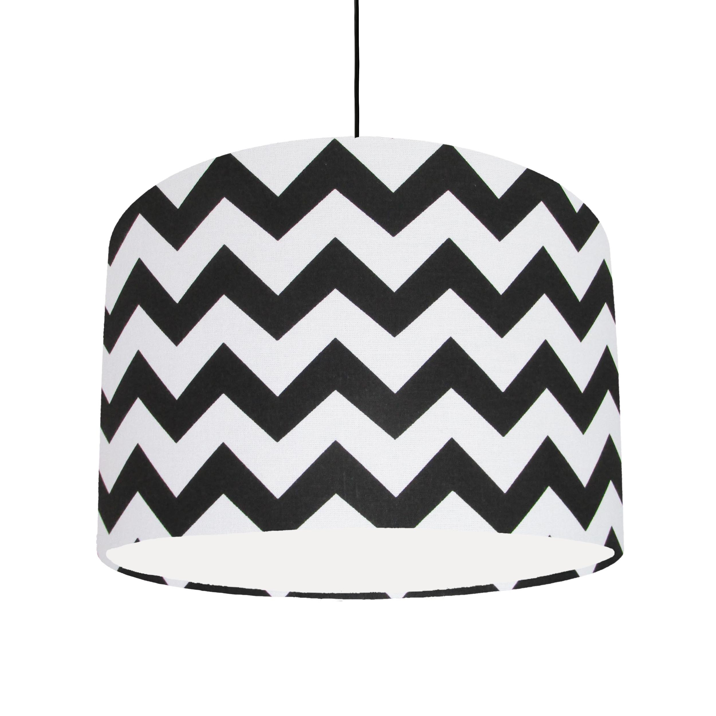 Black and White Lampshade with White Lining