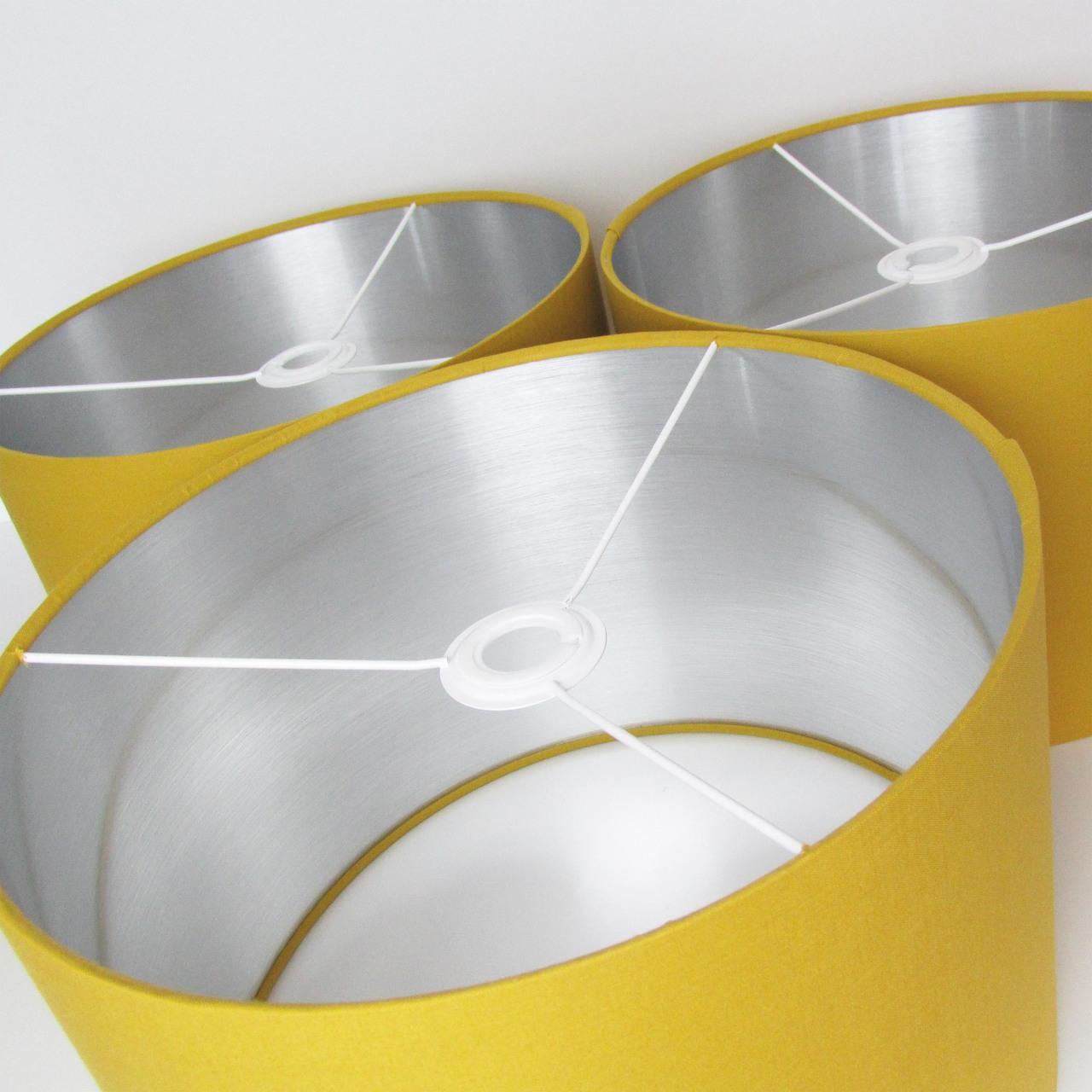 mustard and silver lining lampshades - group shot