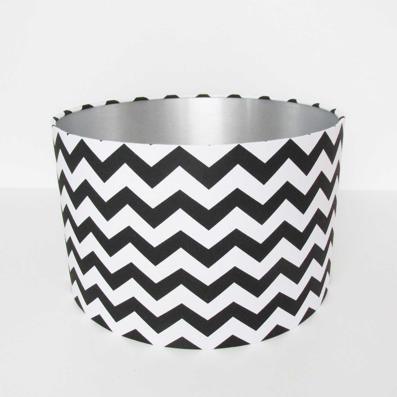 black zig zags lampshade with silver lining