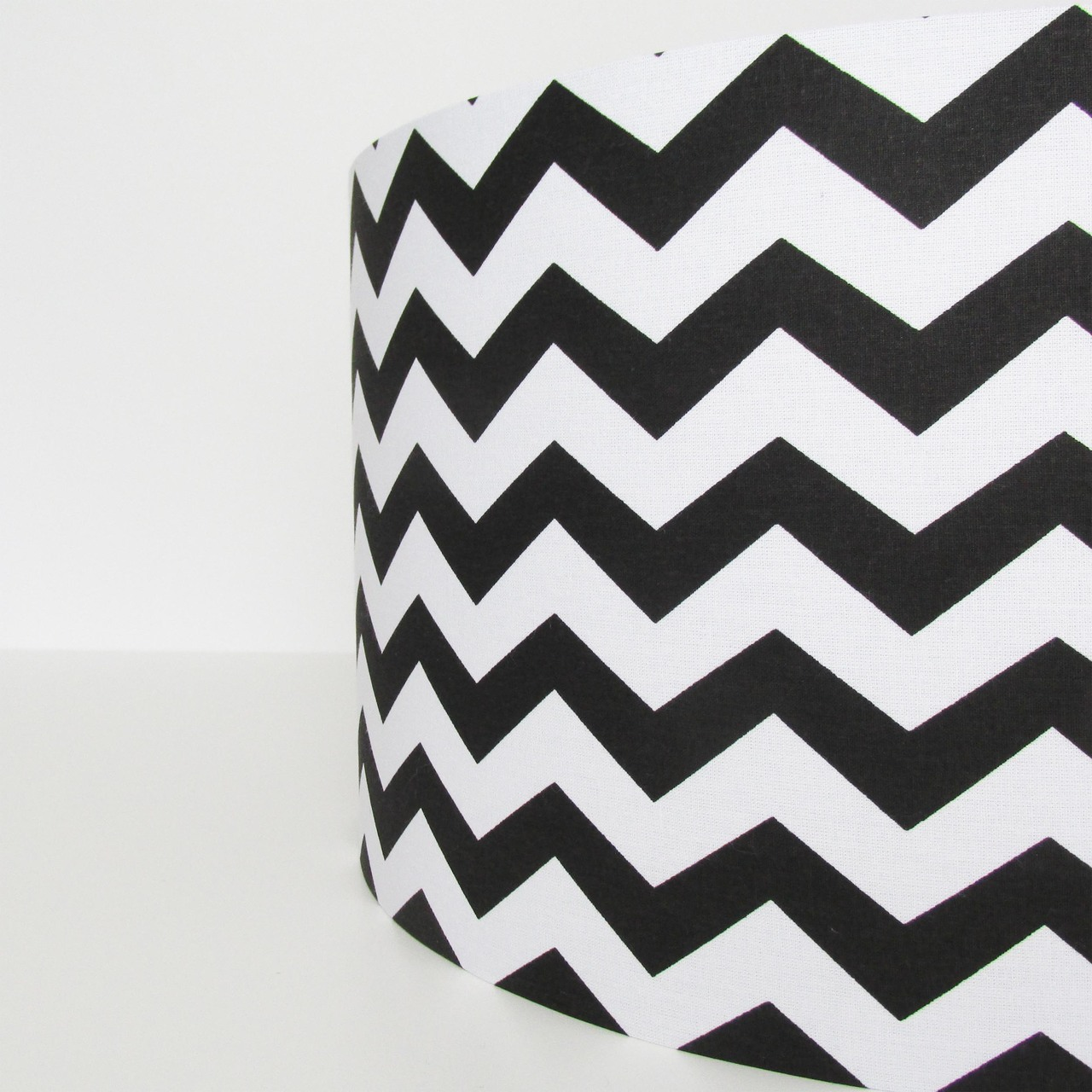 Black Chevrons and Brushed Silver Lampshade