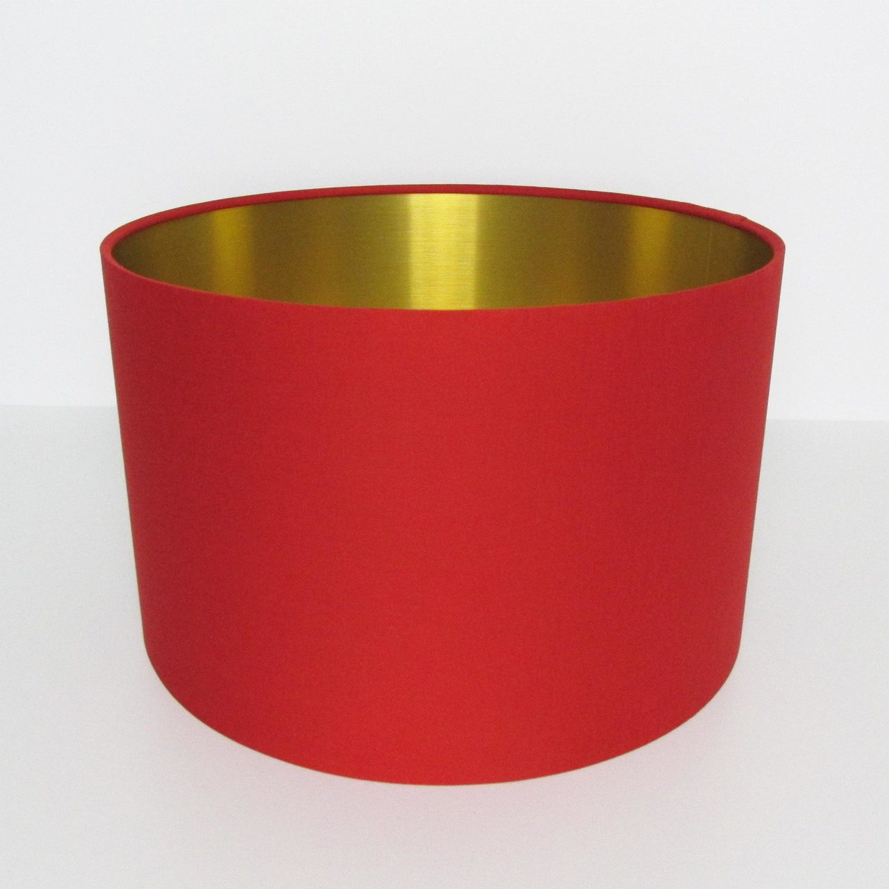 Red Cotton Lampshade with Gold Brass Lining