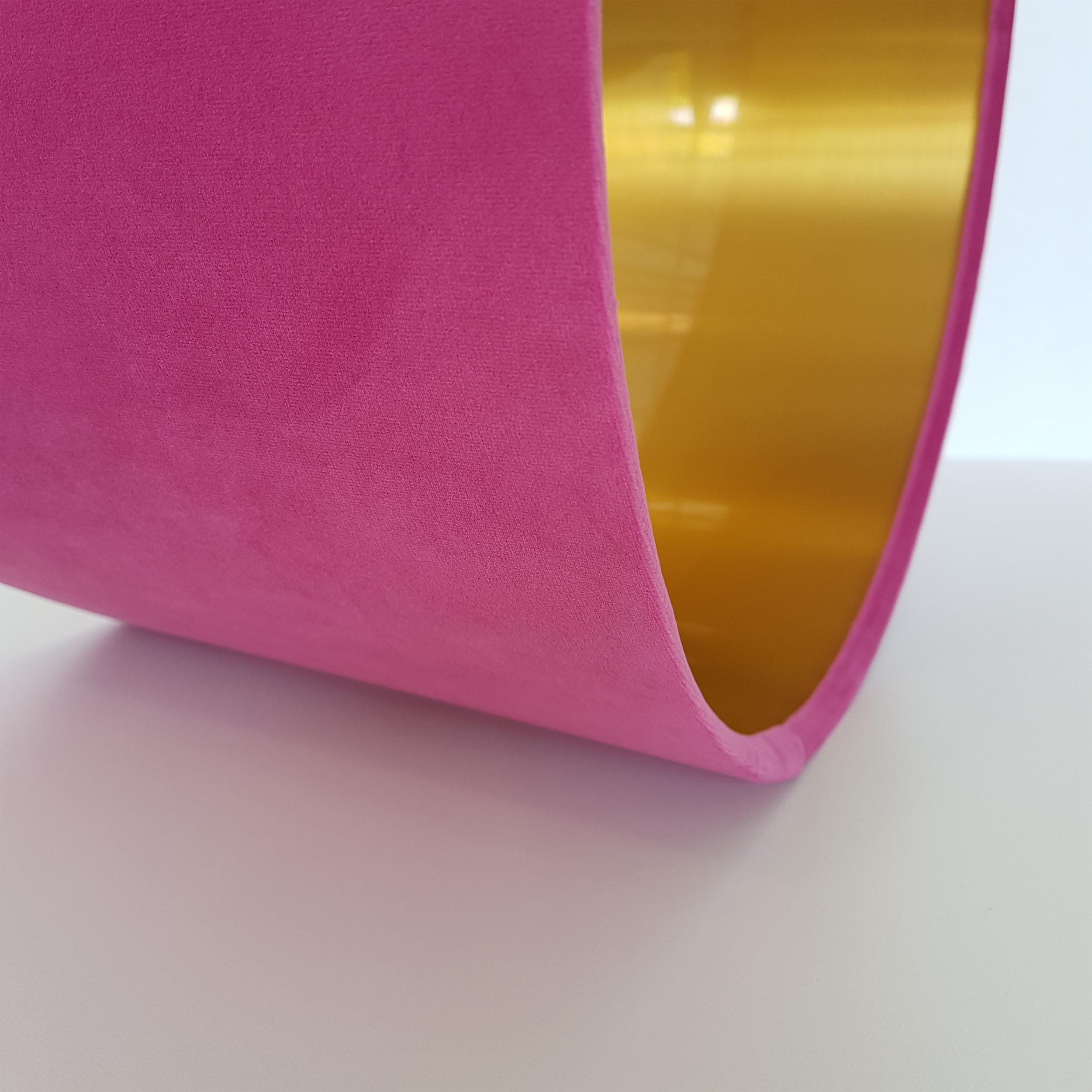 Pink Velvet and Brushed Gold Lampshade