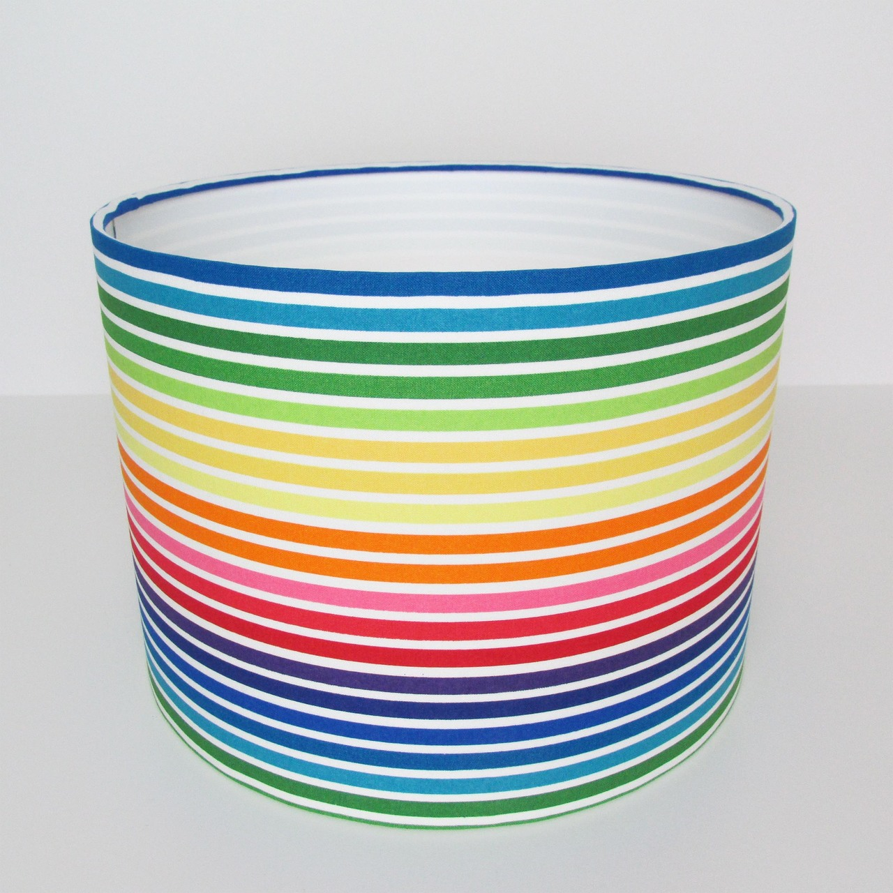 Multicoloured Stripes Lampshade in Cotton and White Lining