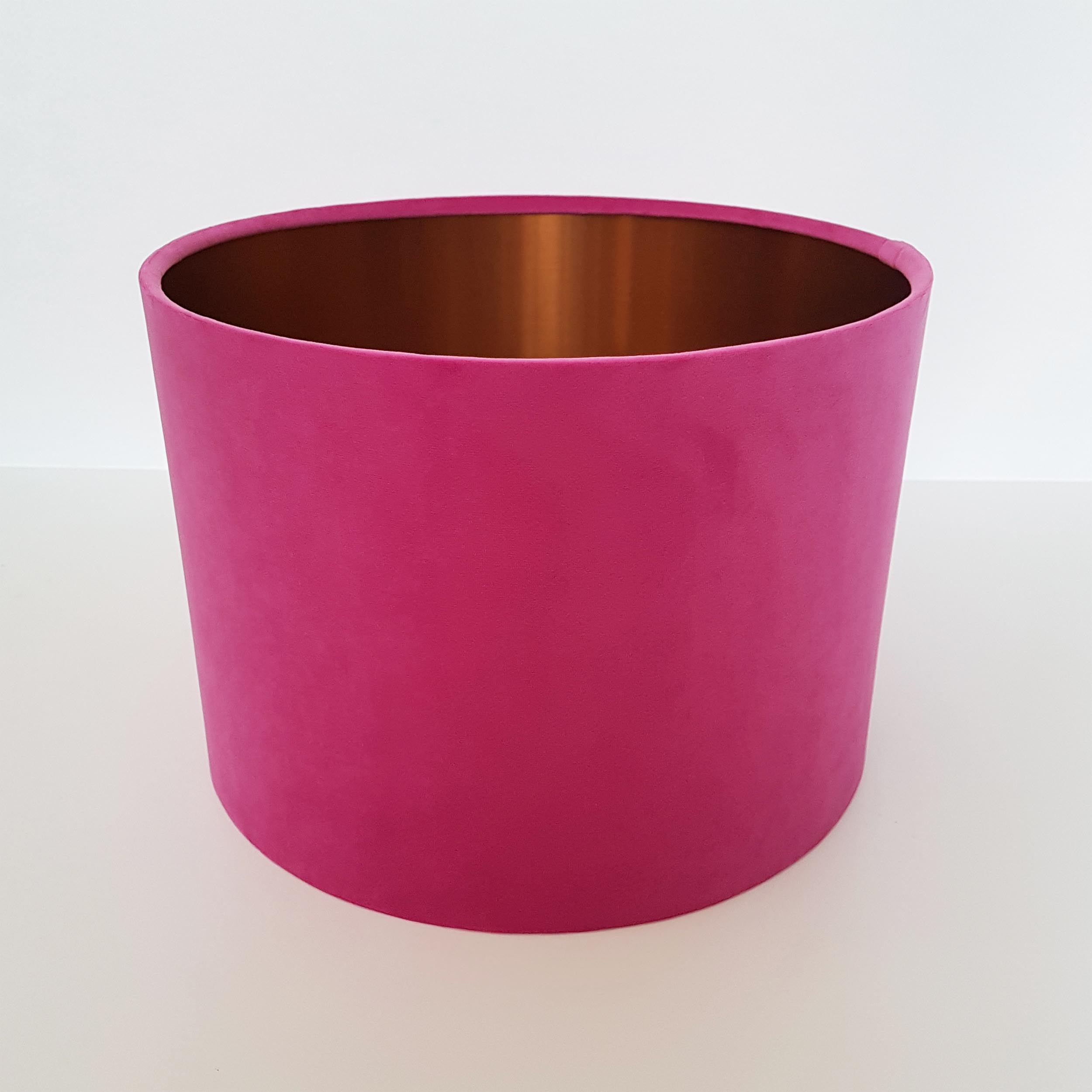 Hot Pink Velvet Lampshade with Brushed Copper