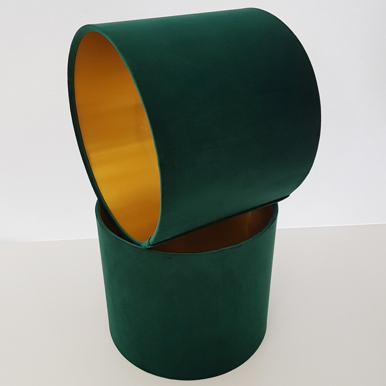 Green Velvet Lampshades in Chatham Glyn London Velvet. Lined with Gold