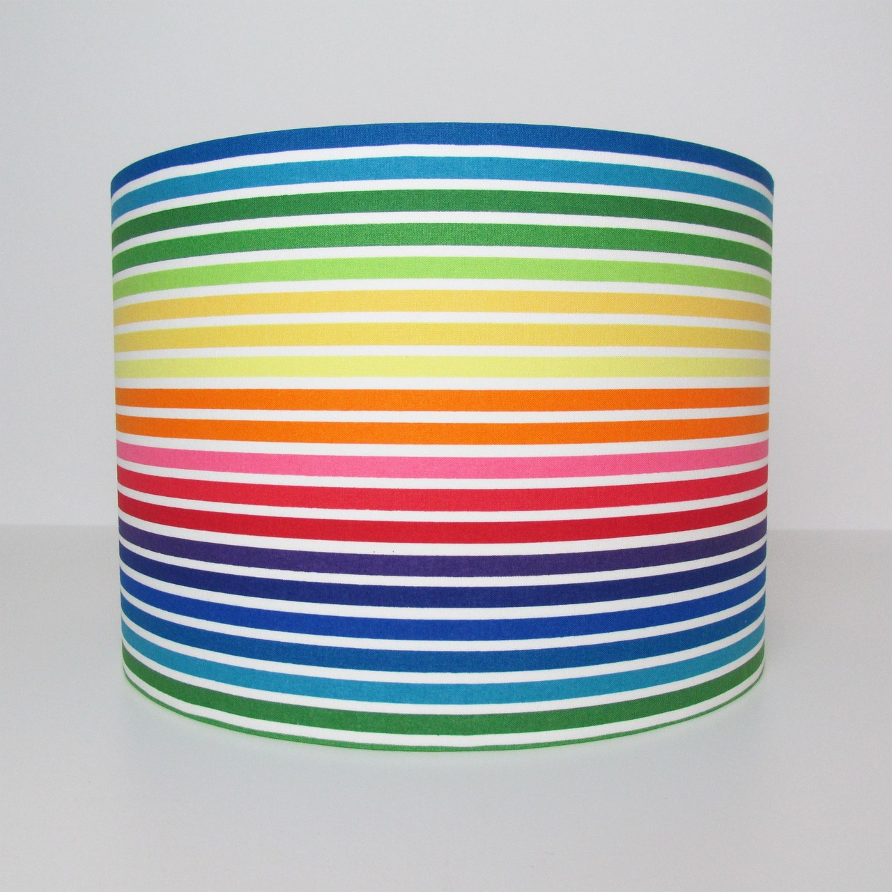 Multicoloured stripes lampshade with gold lining