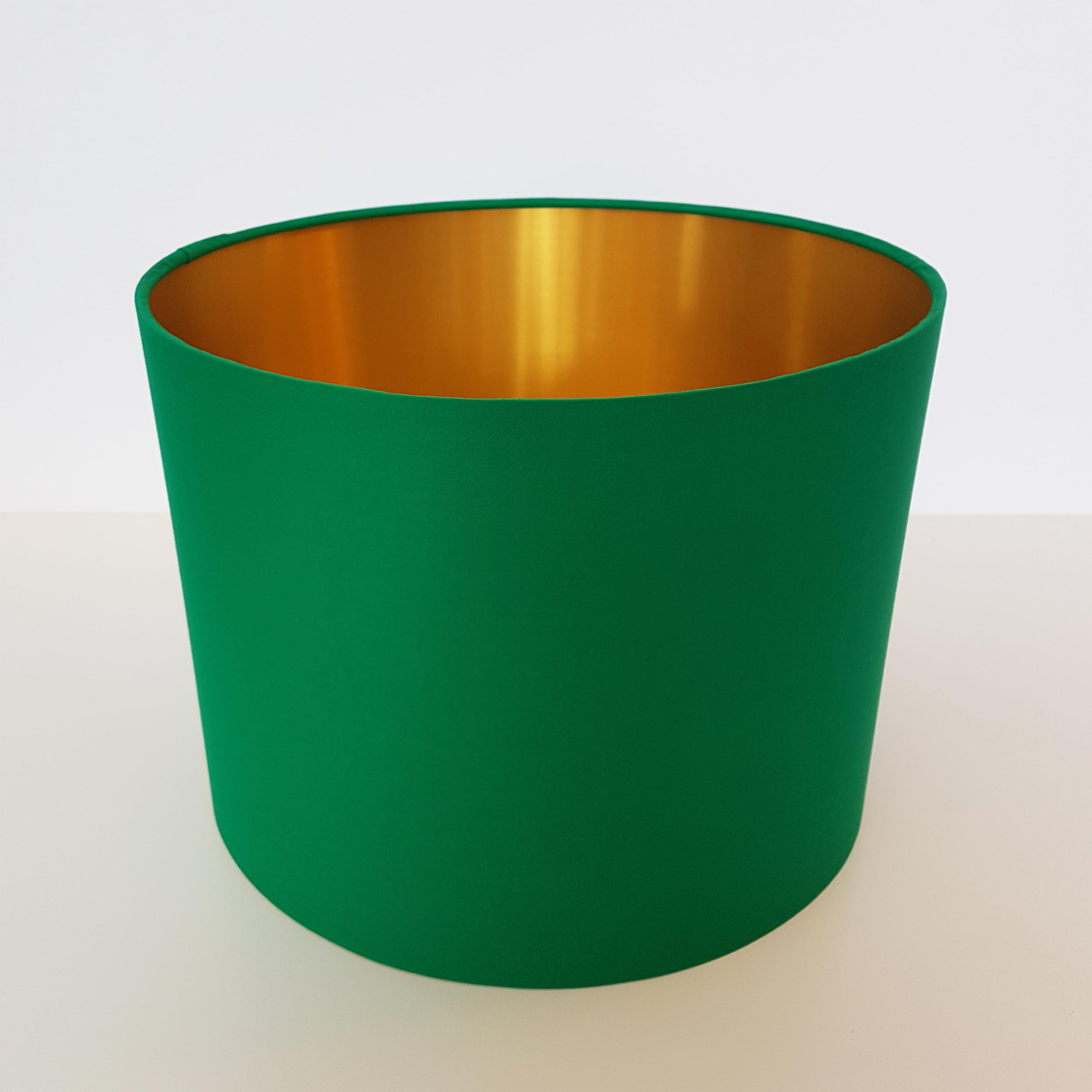 Bright Emerald Green and Brushed Gold Lampshade