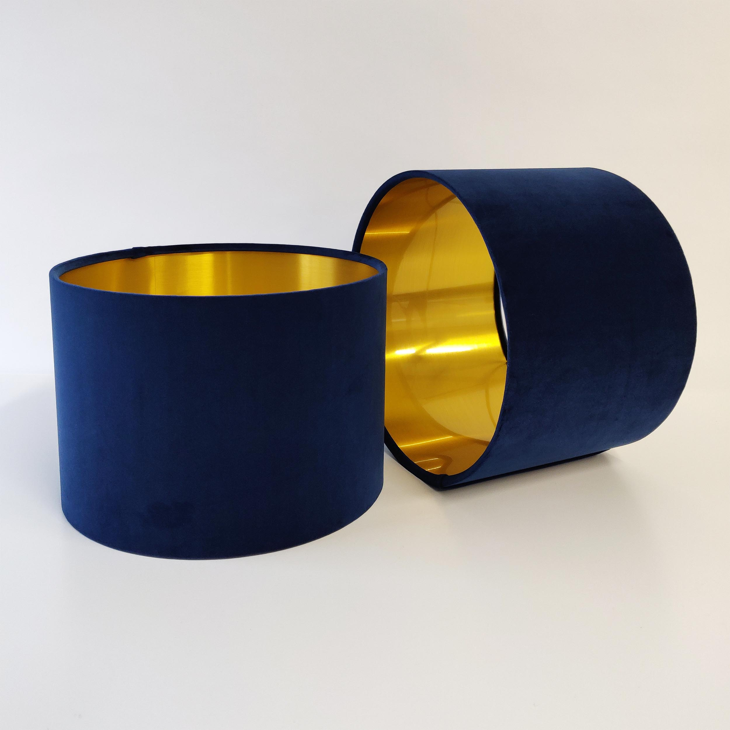 Navy Blue Velvet Lampshade with Metallic Gold Lining